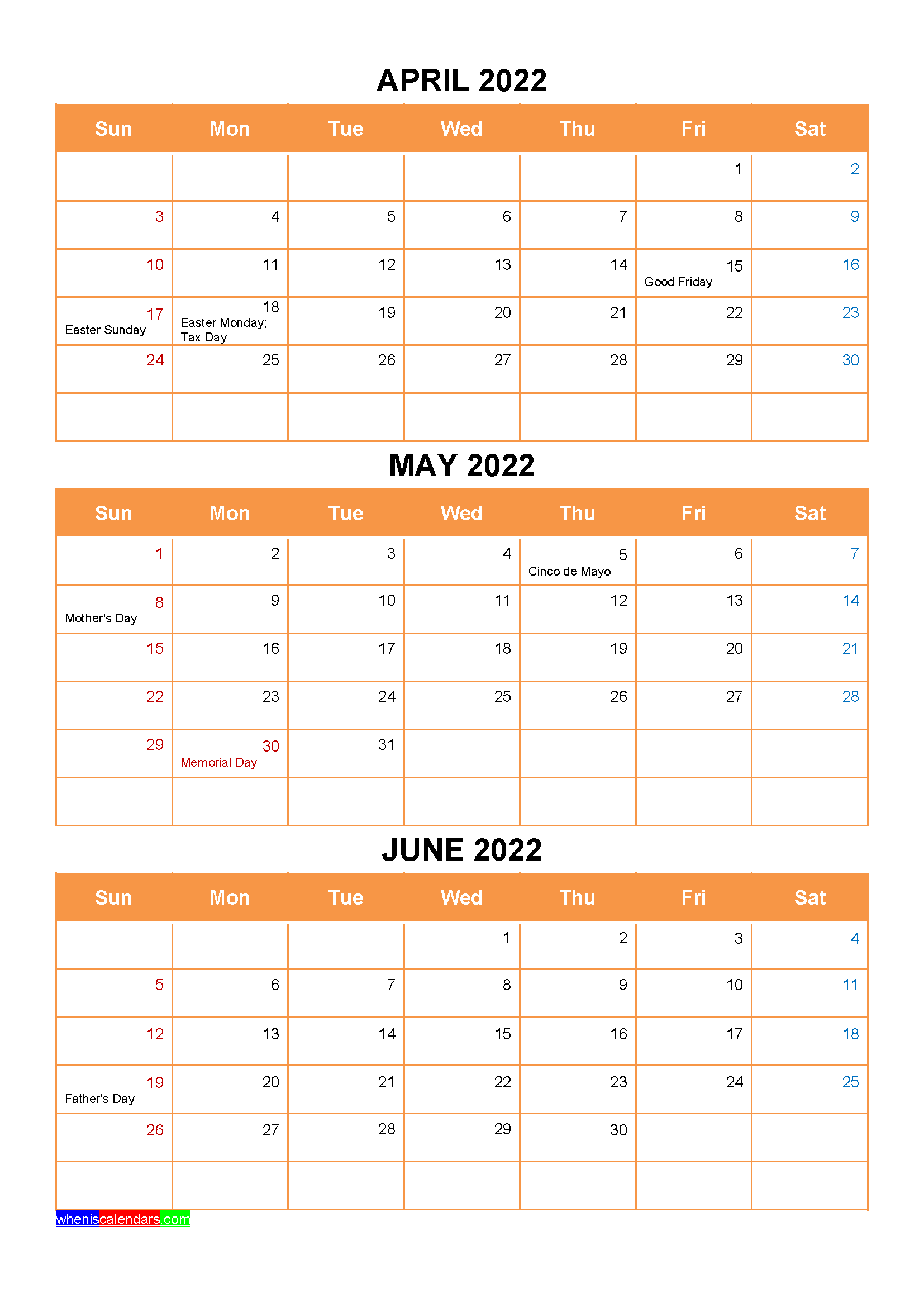 April May June 2022 Calendar with Holidays Printable