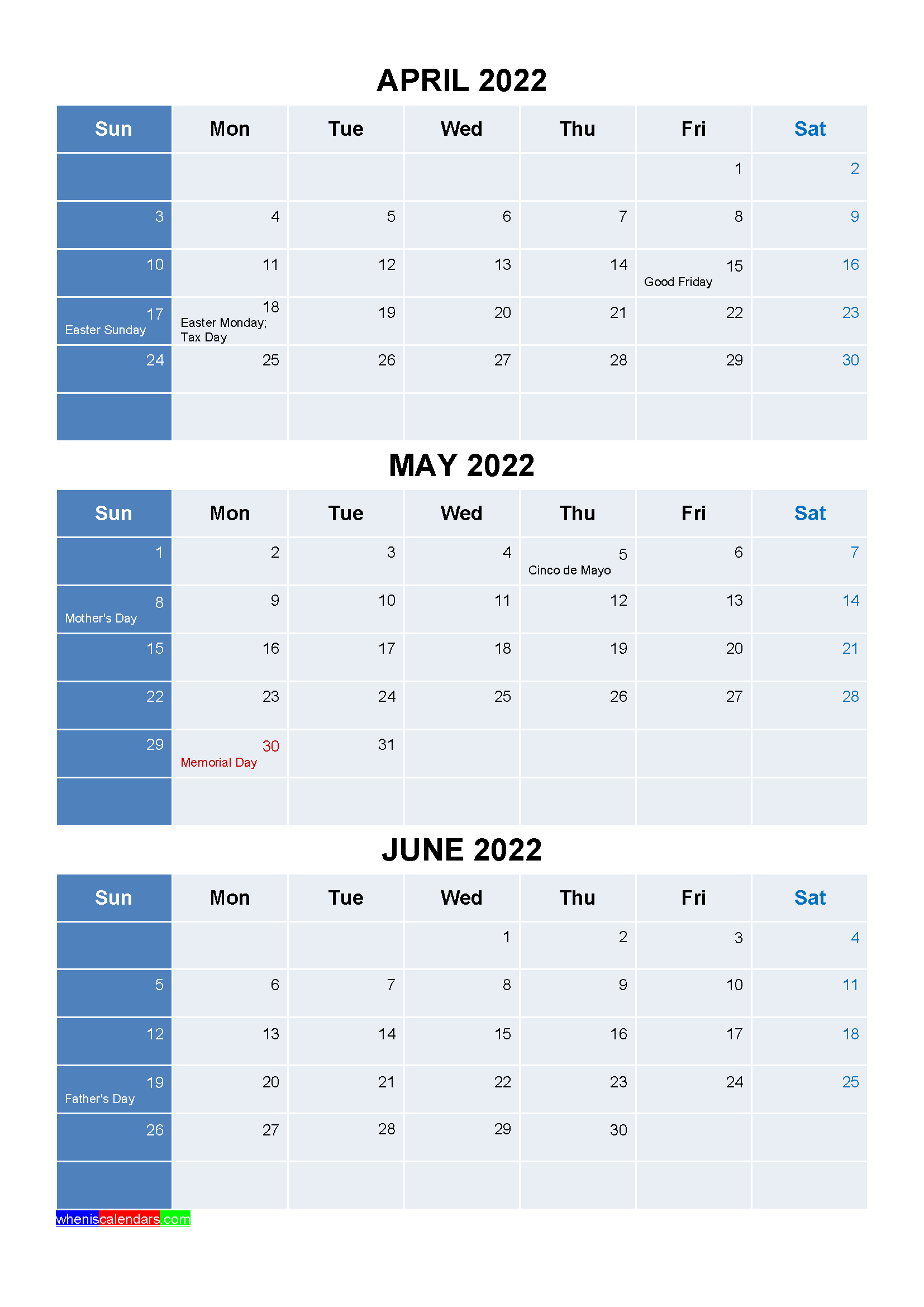 Free April May June 2022 Calendar with Holidays