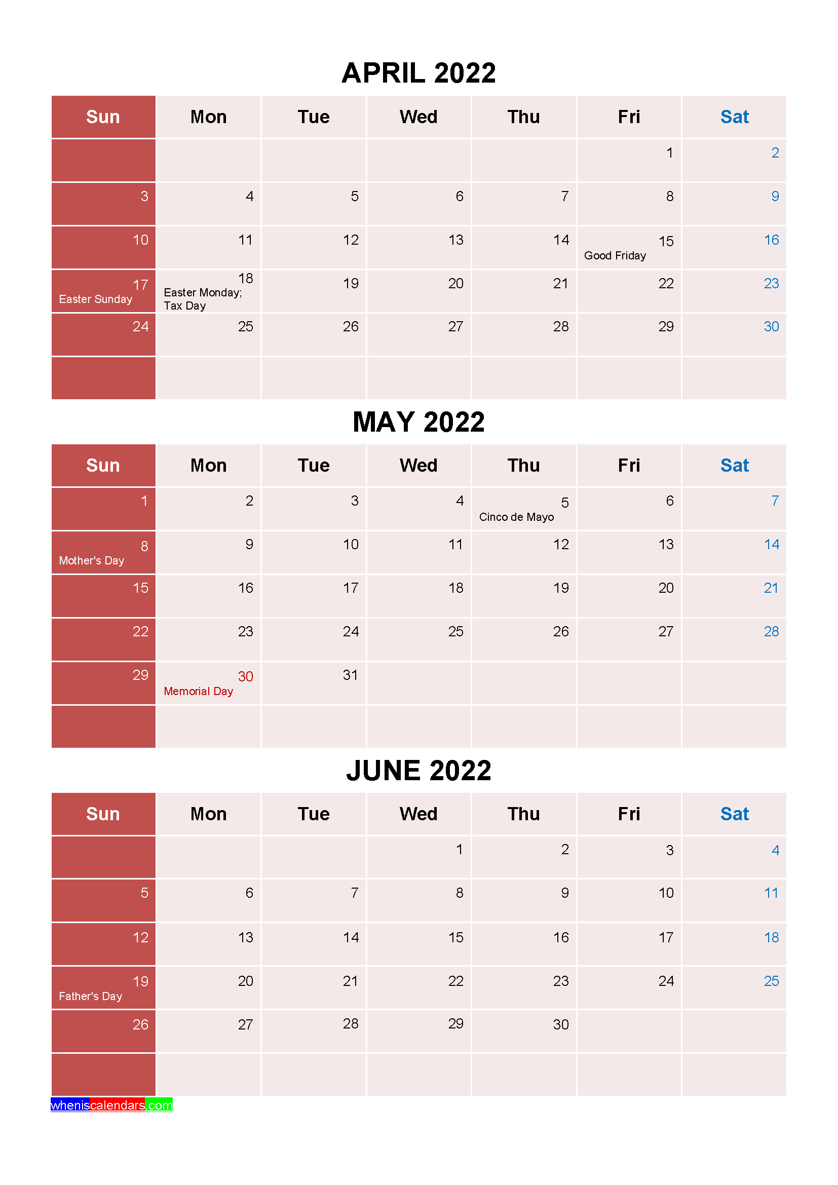 Printable April May June 2022 Calendar with Holidays