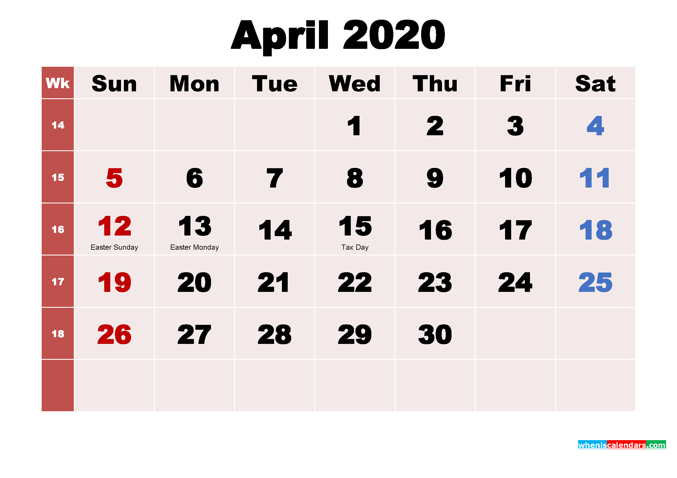 Free Printable April 2020 Calendar with Holidays as Word, PDF