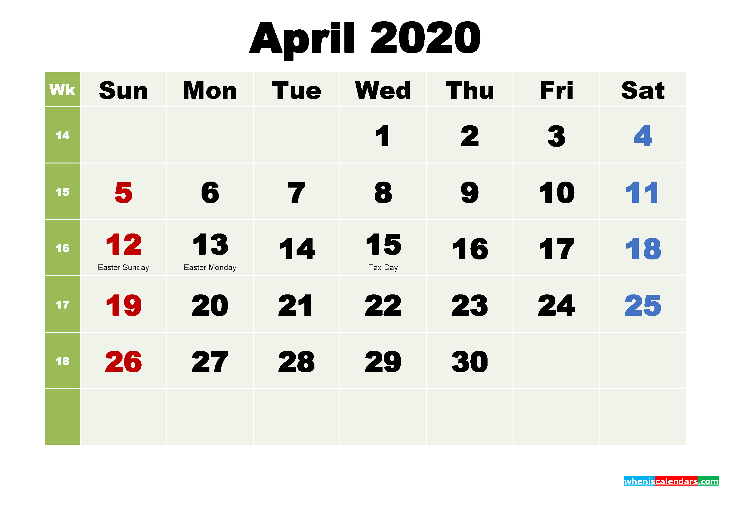 Printable Calendar April 2020 with Holidays as Word, PDF