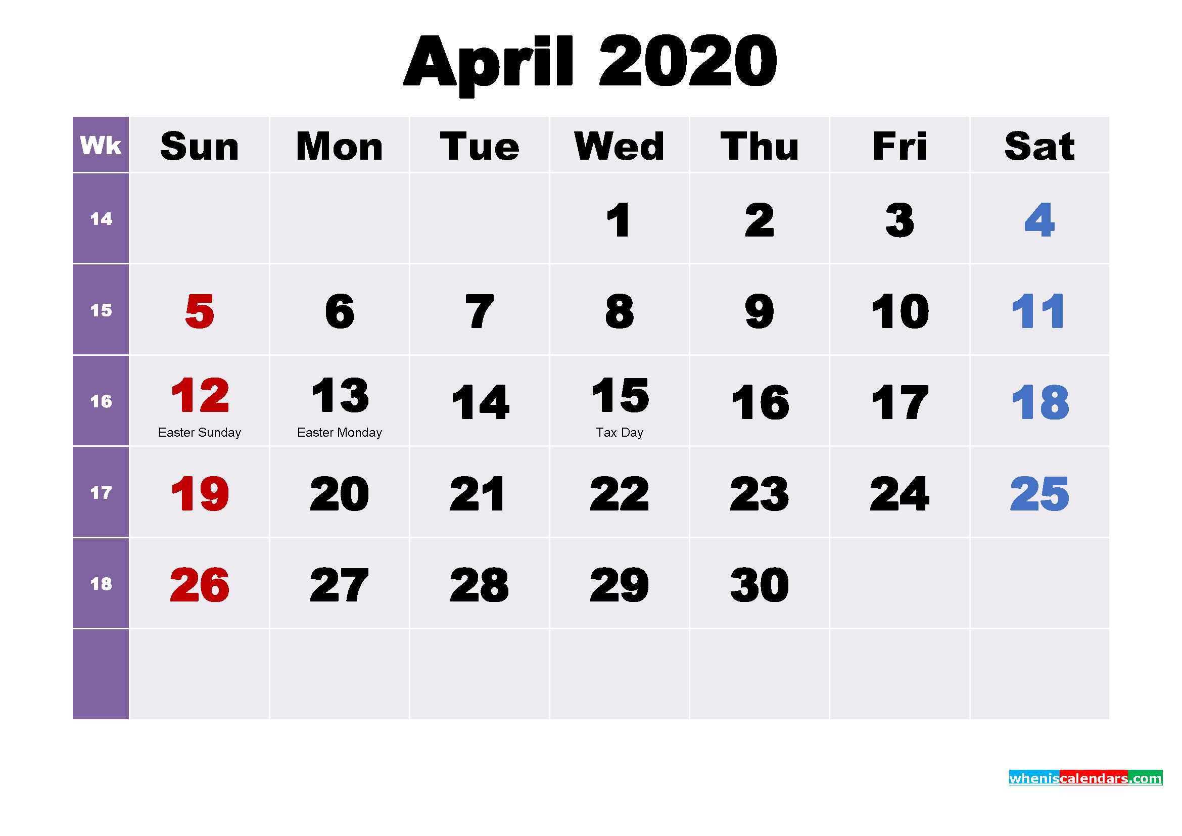 Printable 2020 Calendar by Month April