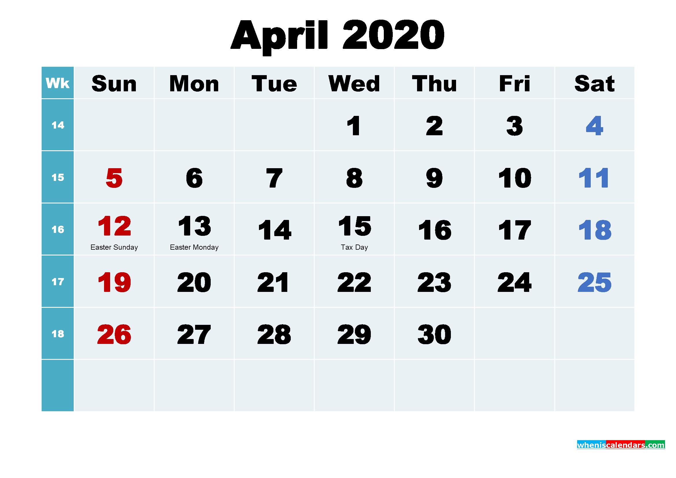 Free Printable April 2020 Calendar Wallpaper