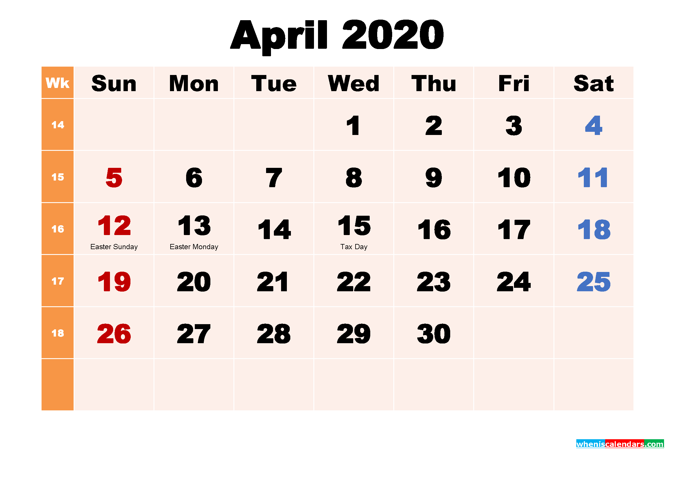 April 2020 Calendar Wallpaper Free Download