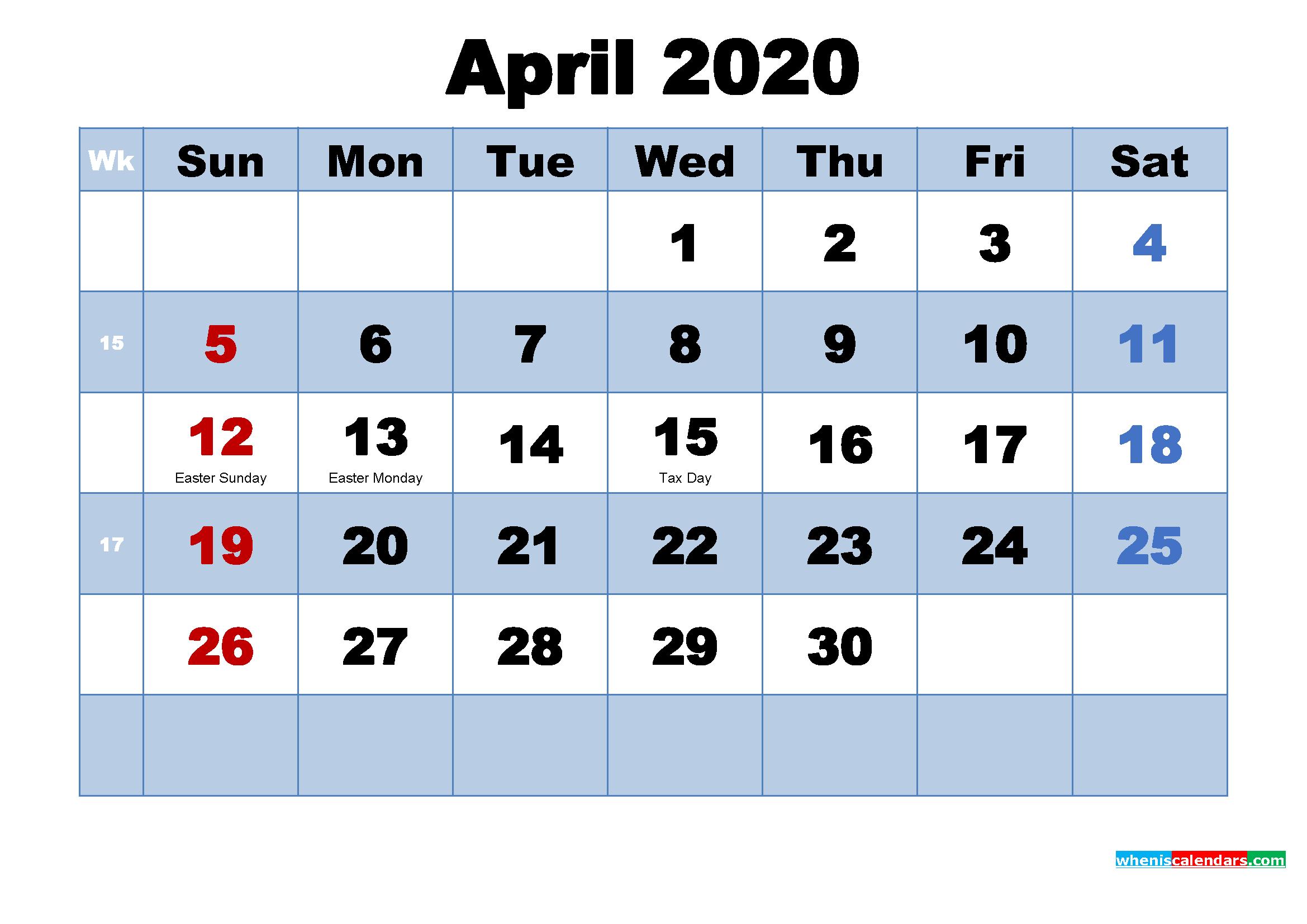 April 2020 Calendar with Holidays Printable