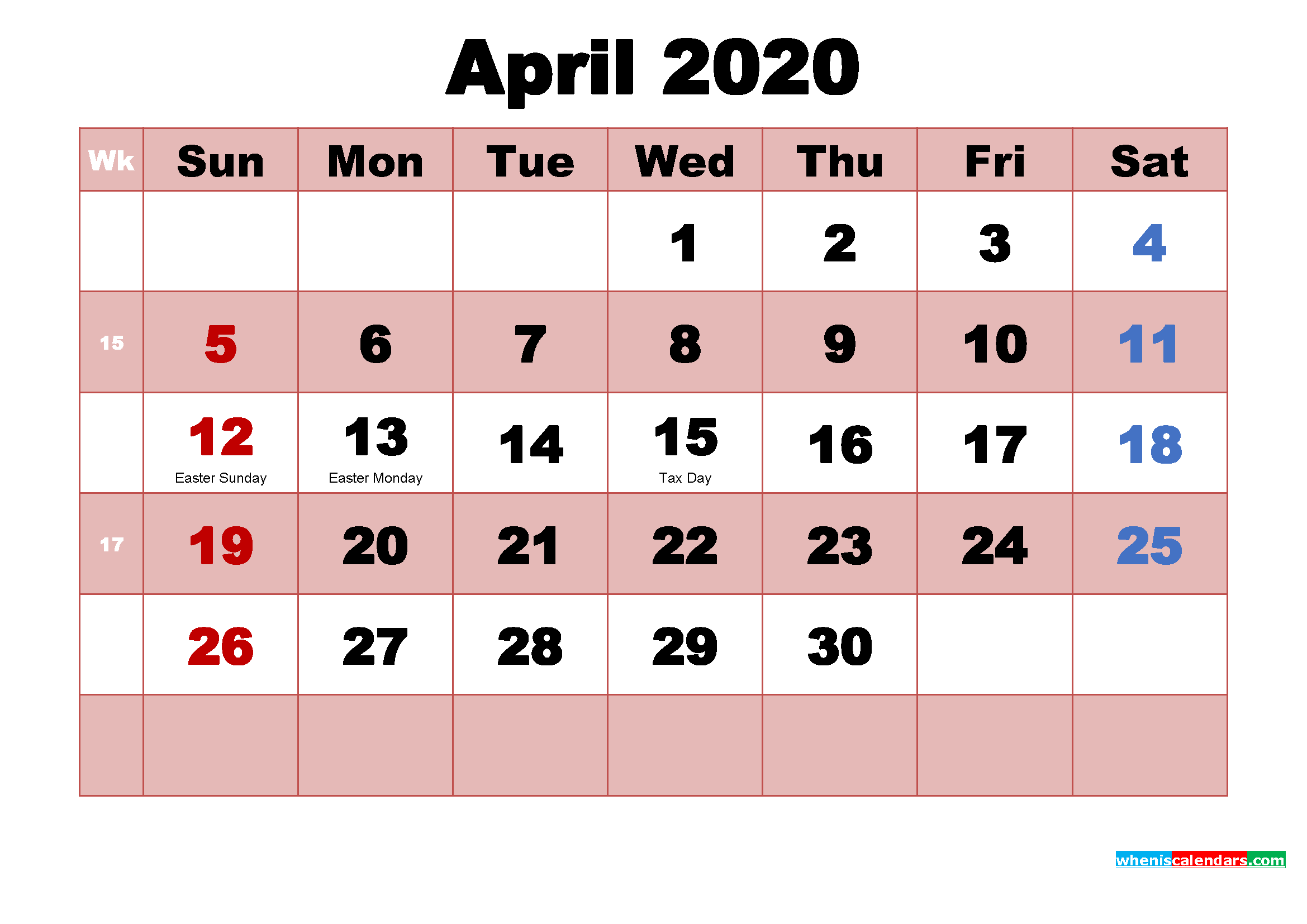 Free April 2020 Desktop Calendar High Resolution