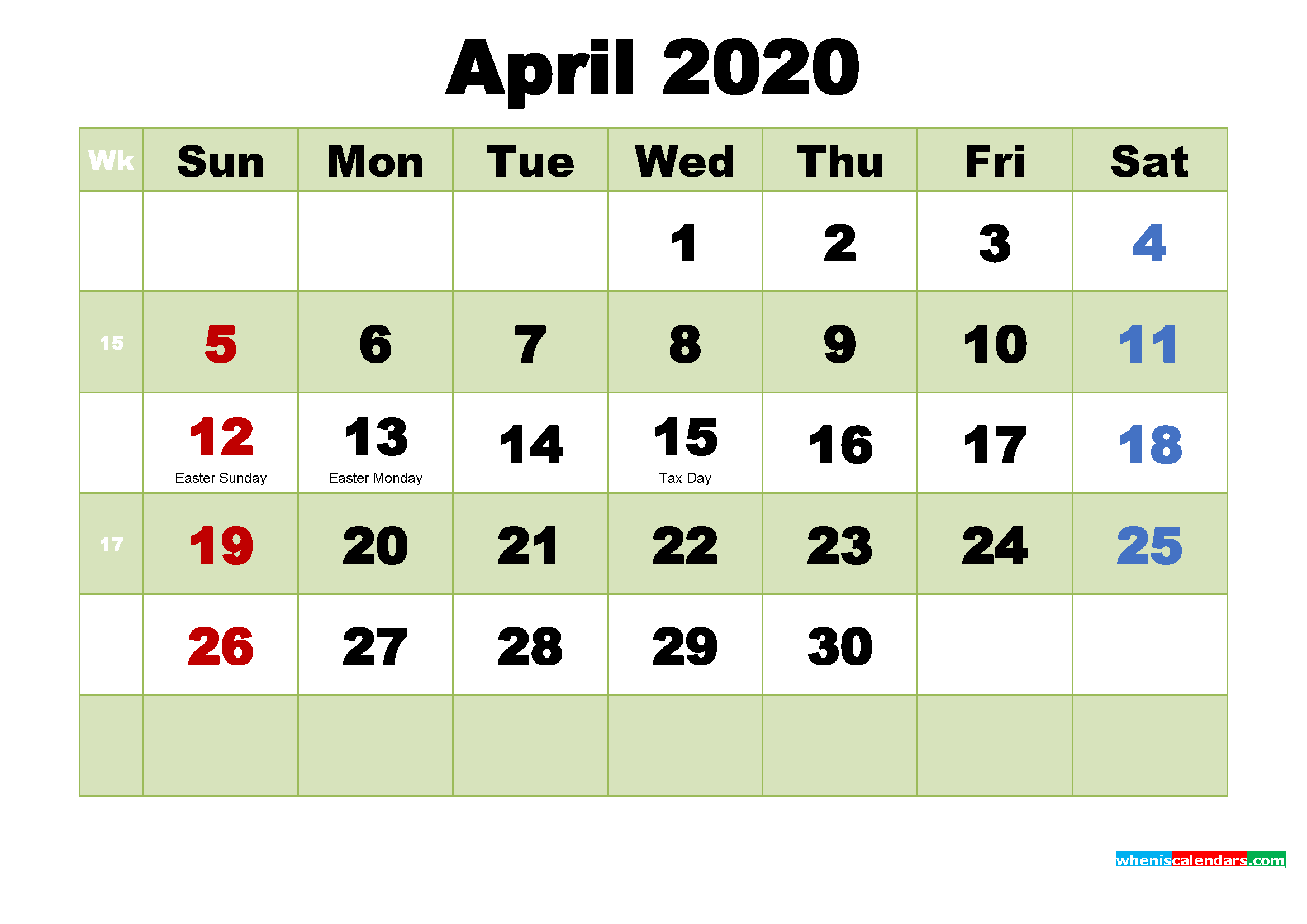 April 2020 Desktop Calendar Free Download