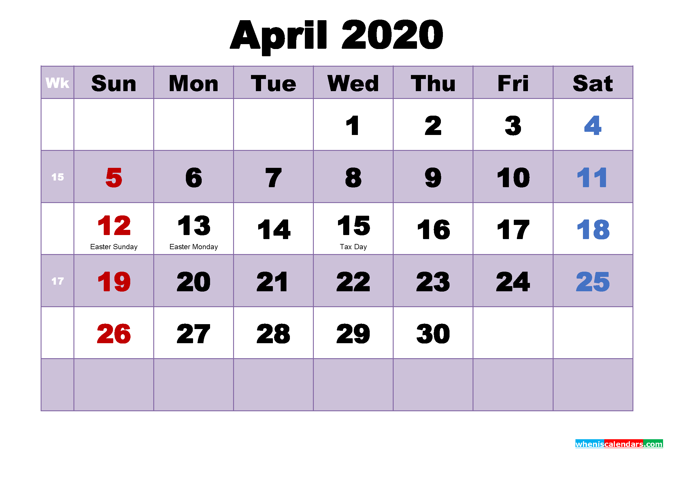 Free Printable April 2020 Calendar Word