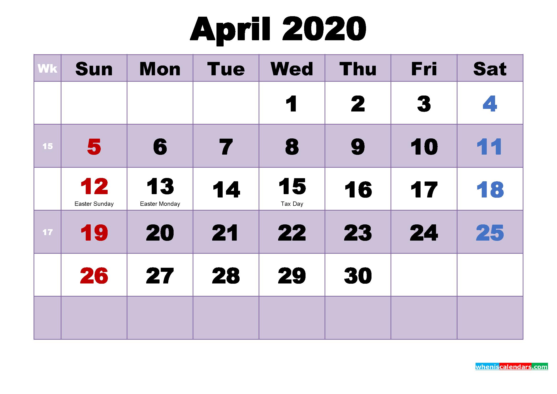 April 2020 Calendar Wallpaper Free Download
