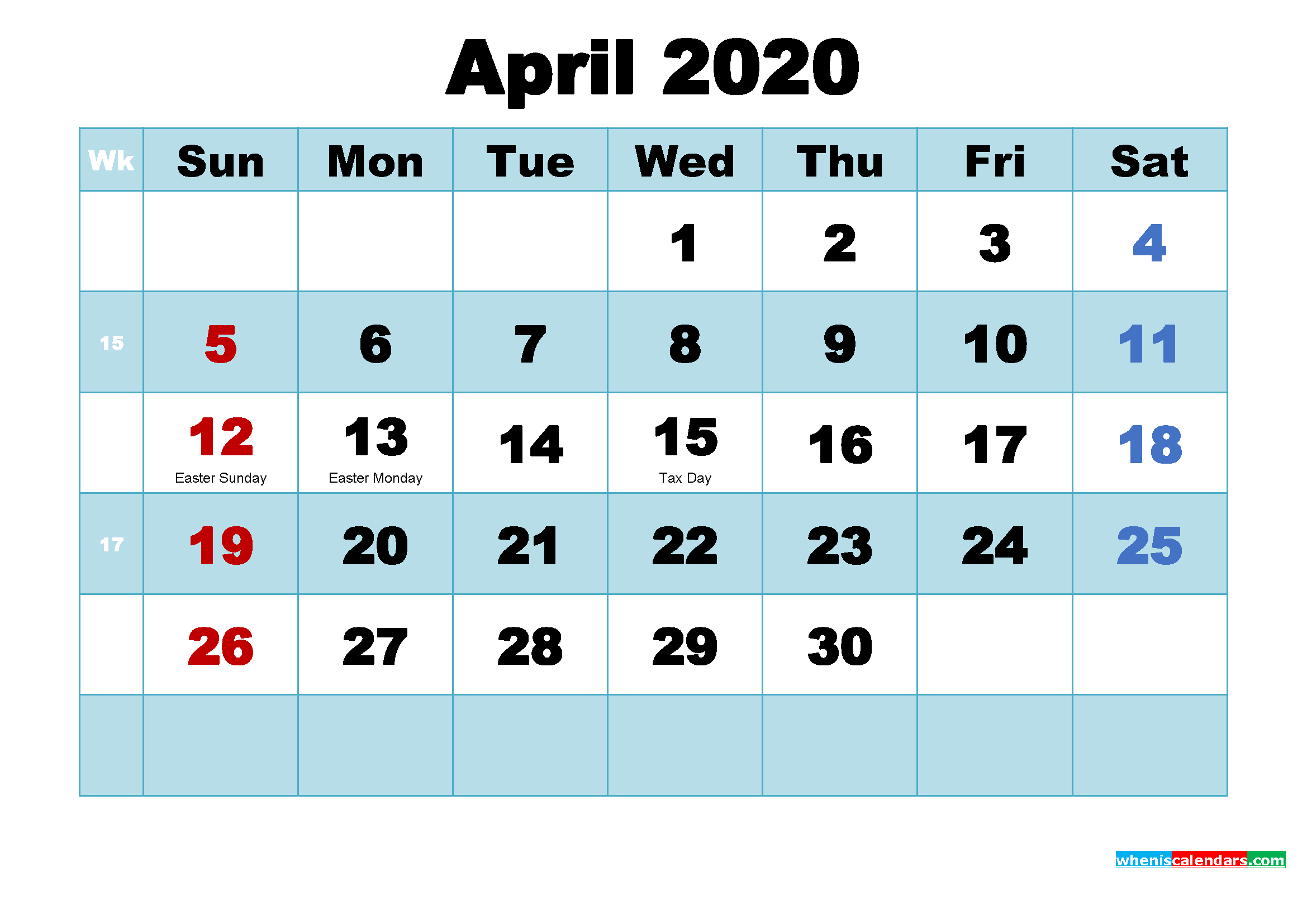 April 2020 Free Printable Calendar with Holidays