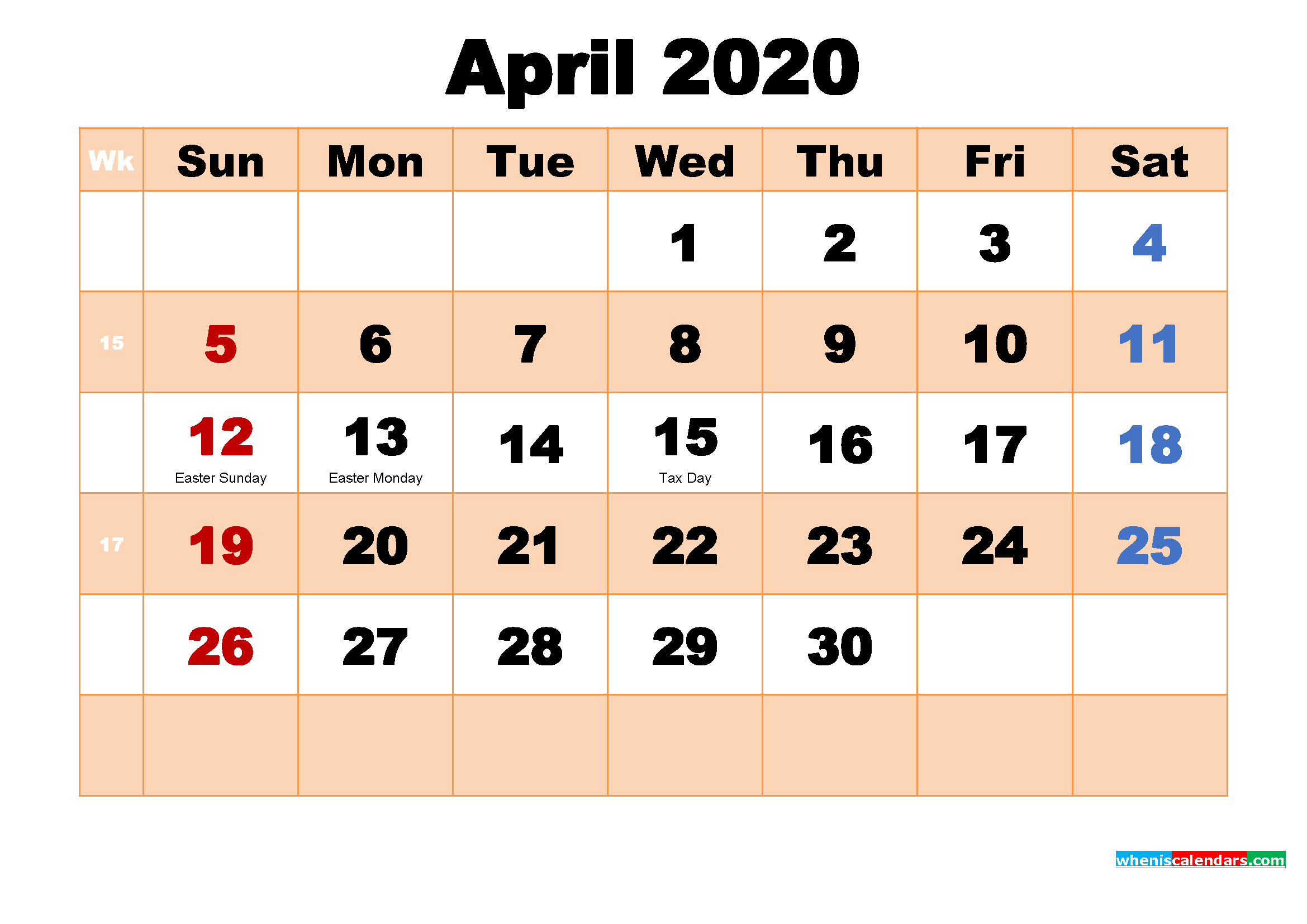 April 2020 Desktop Calendar Monthly
