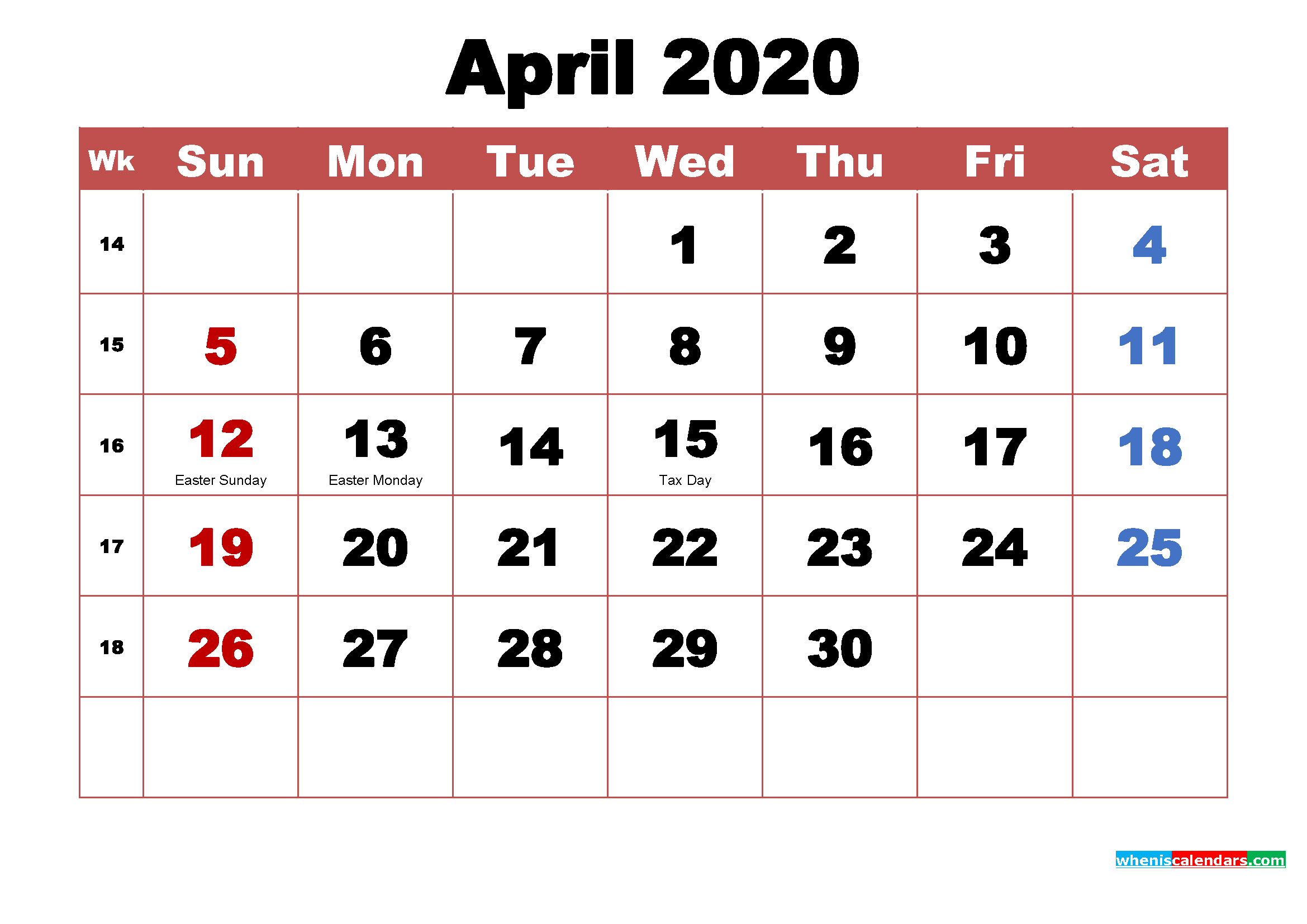 April 2020 Calendar Wallpaper High Resolution