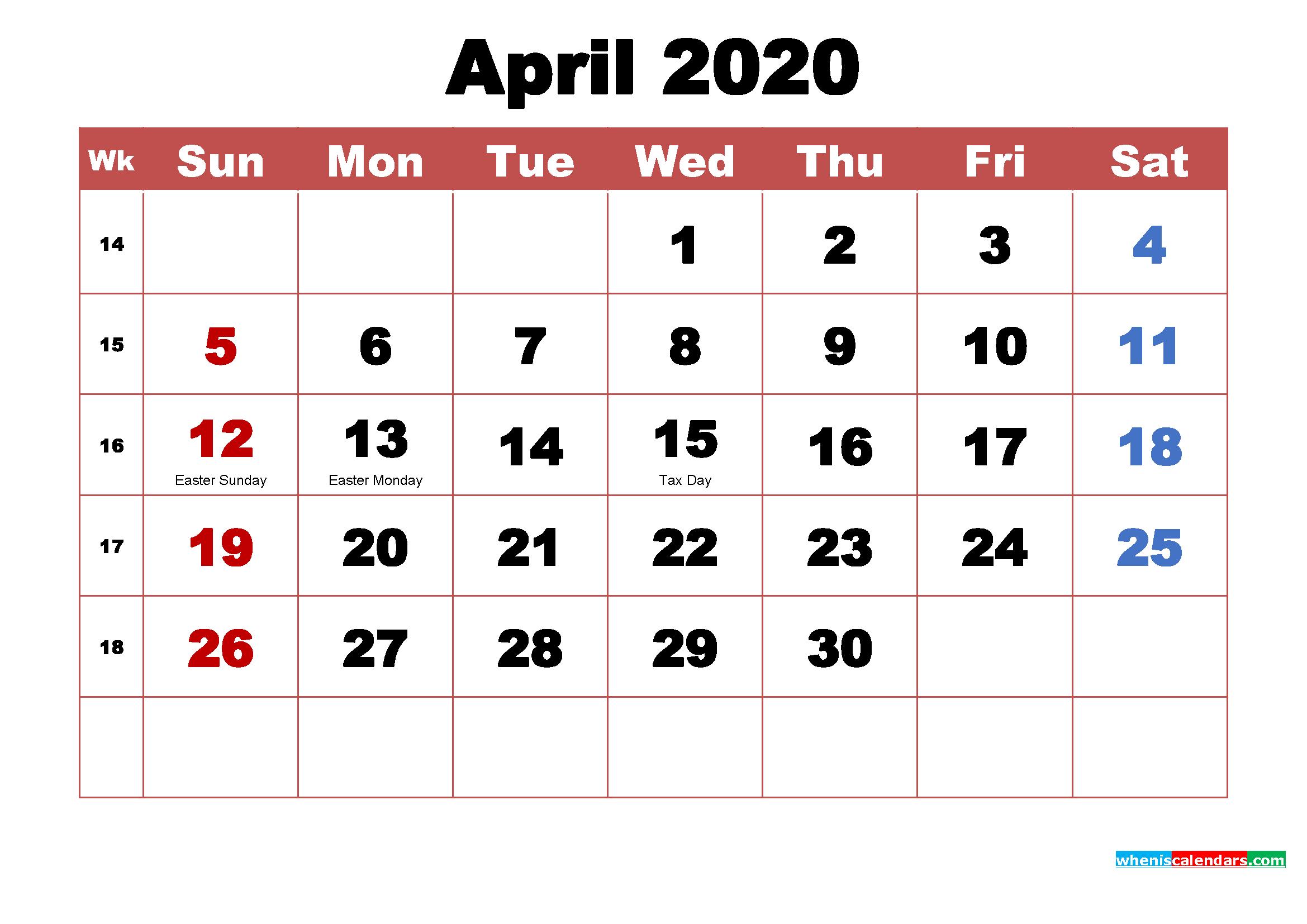 April 2020 Desktop Calendar High Resolution