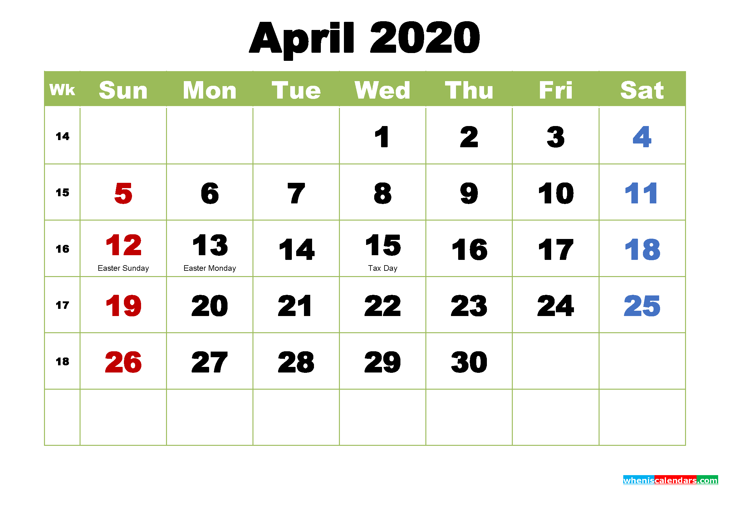 April 2020 Desktop Calendar with Holidays