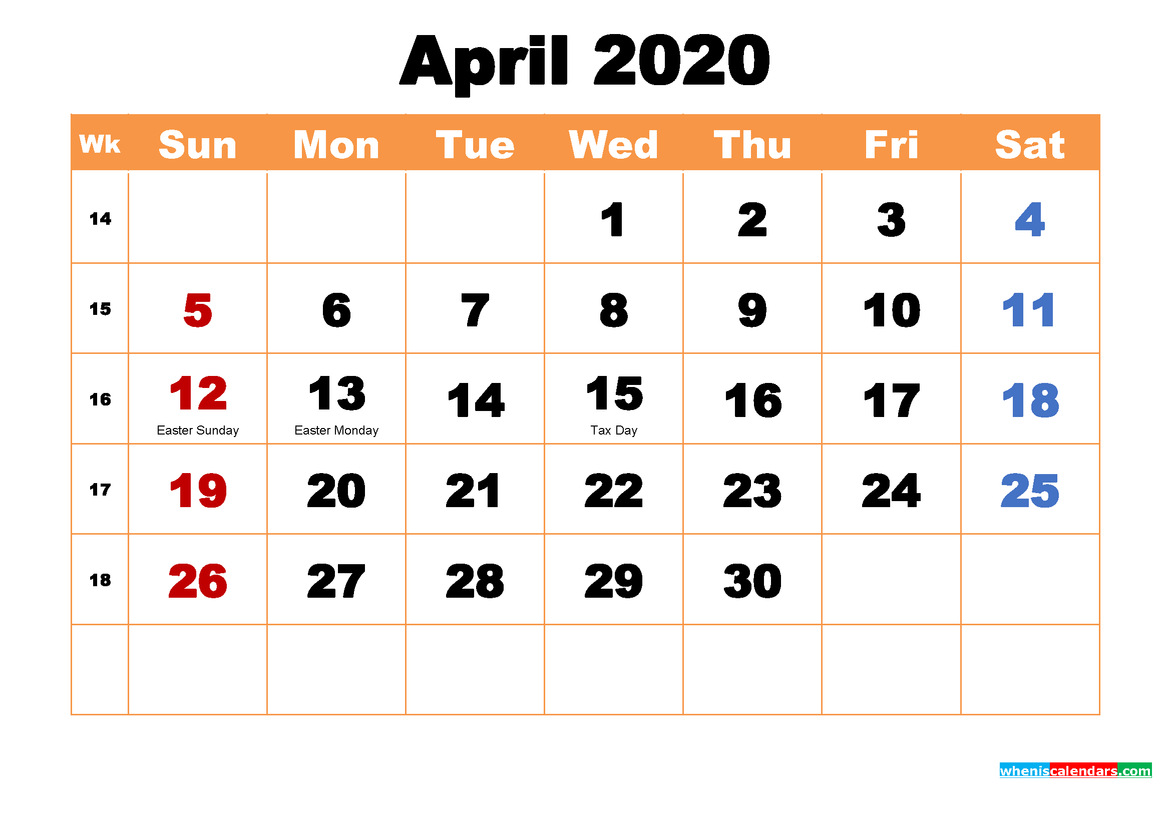 Printable Calendar for April 2020