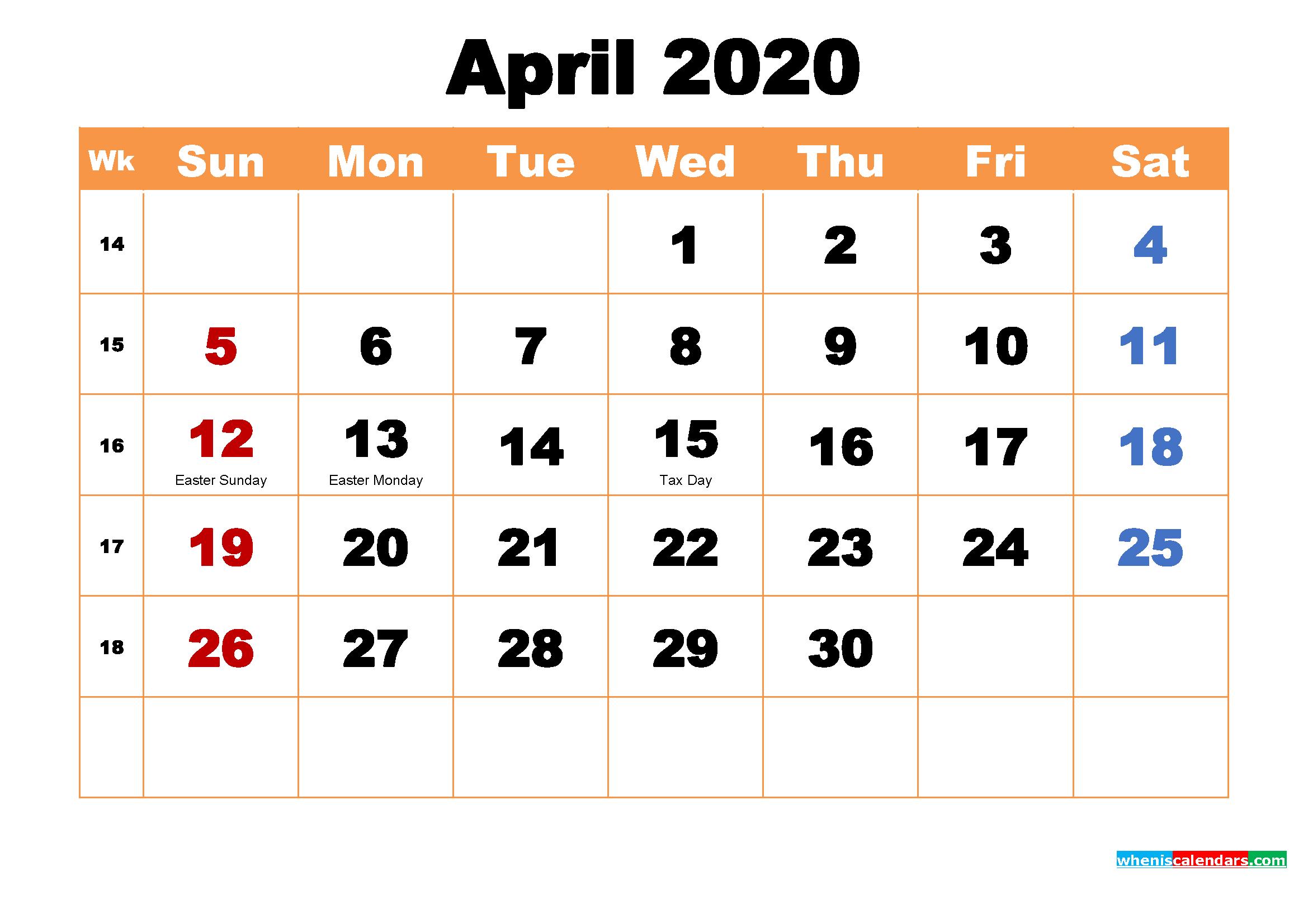 April 2020 Calendar Wallpaper High Resolution