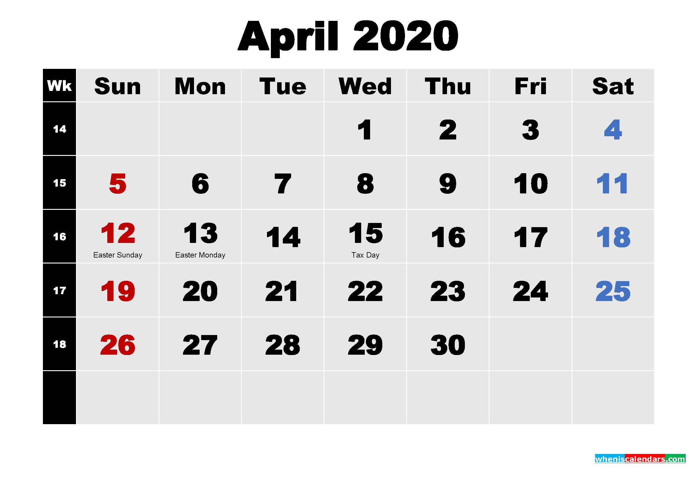 April 2020 Calendar With Holidays Wallpaper Free Printable 2020