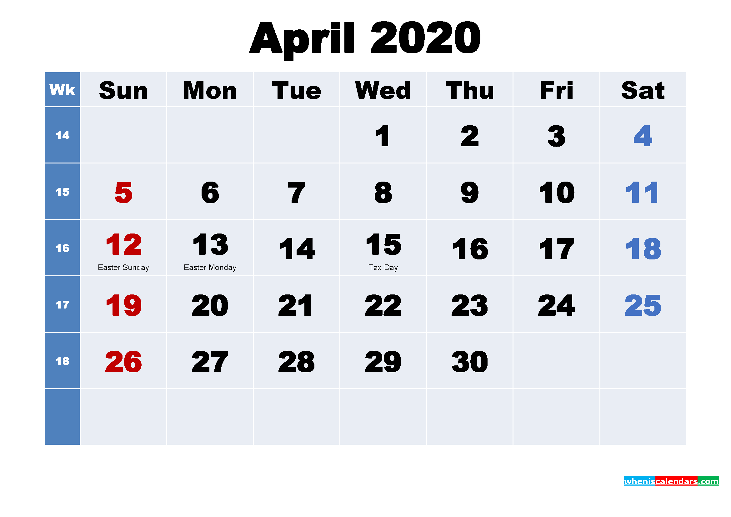 Free Printable 2020 Calendar with Holidays April