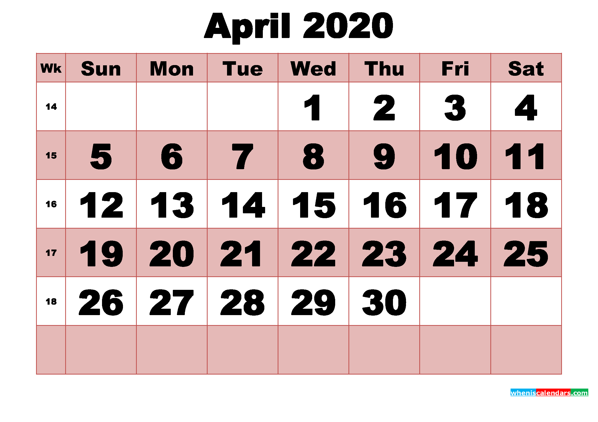 Free Printable Monthly Calendar April 2020