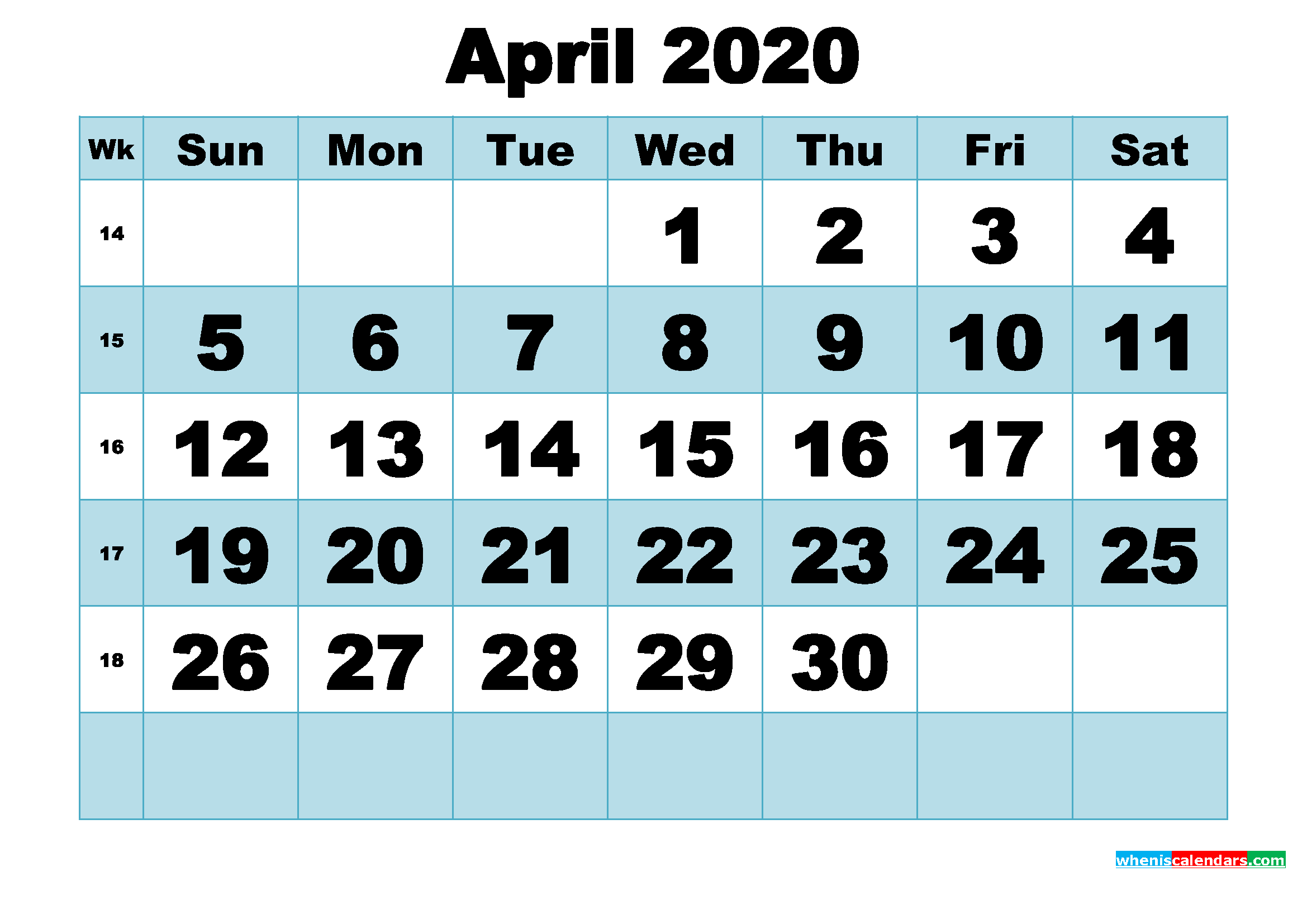 Free Printable April 2020 Calendar Word, PDF, Image