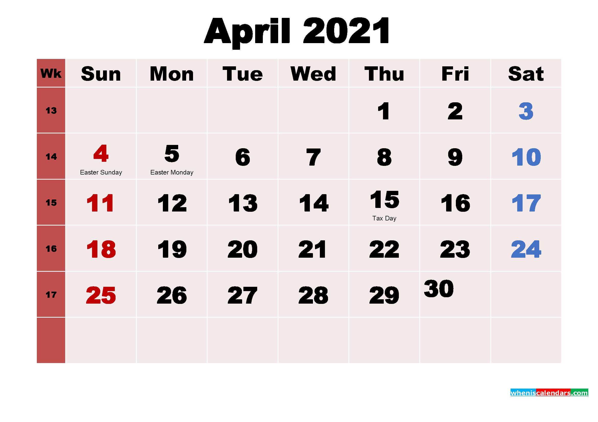 April 2021 Calendar Wallpaper Free Download
