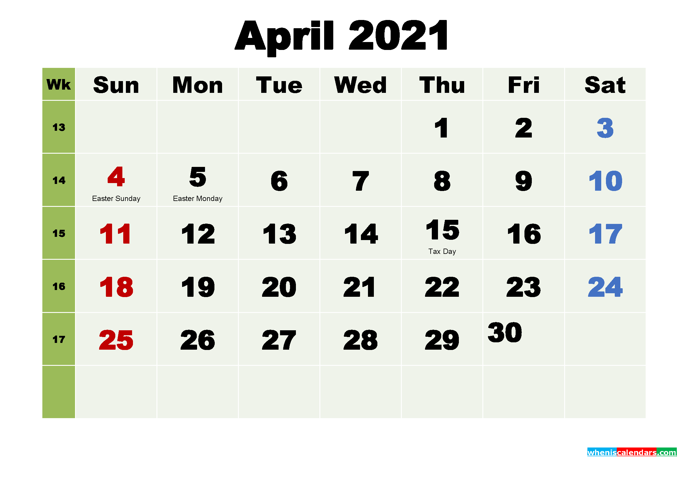 Printable April 2021 Calendar by Month
