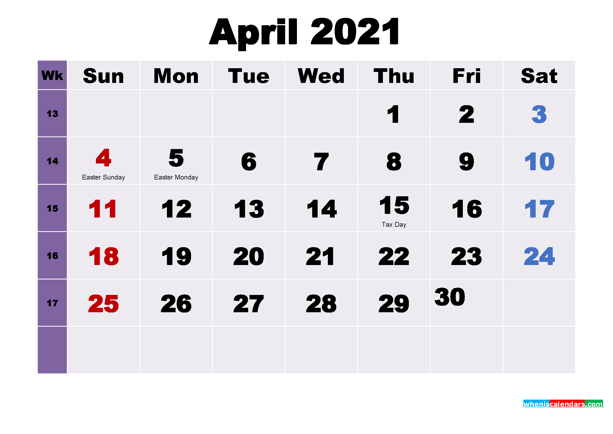 Printable 2021 Calendar by Month April