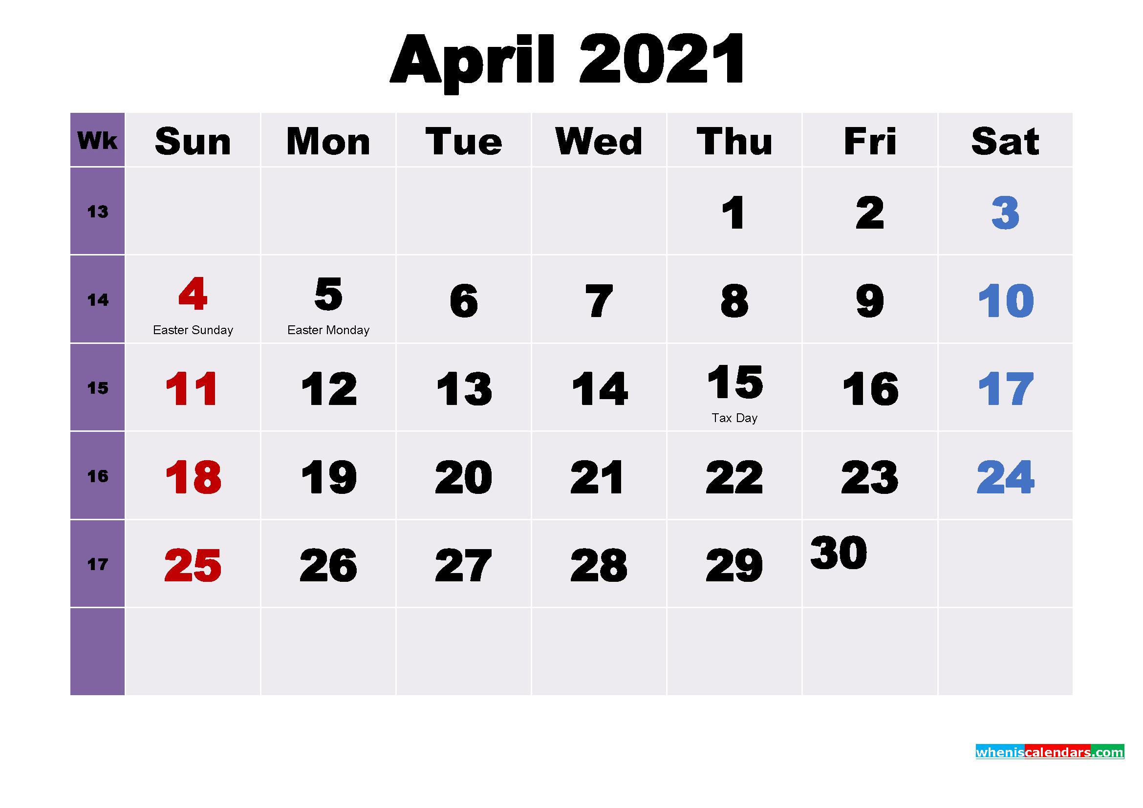 April 2021 Desktop Calendar Free Download
