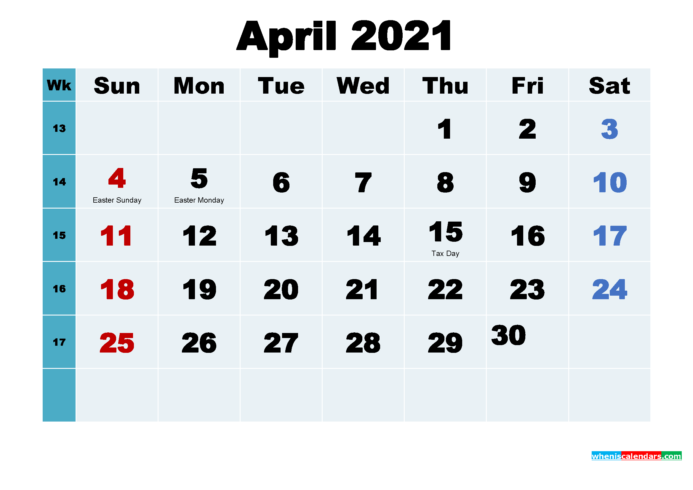 Printable 2021 Calendar with Holidays April