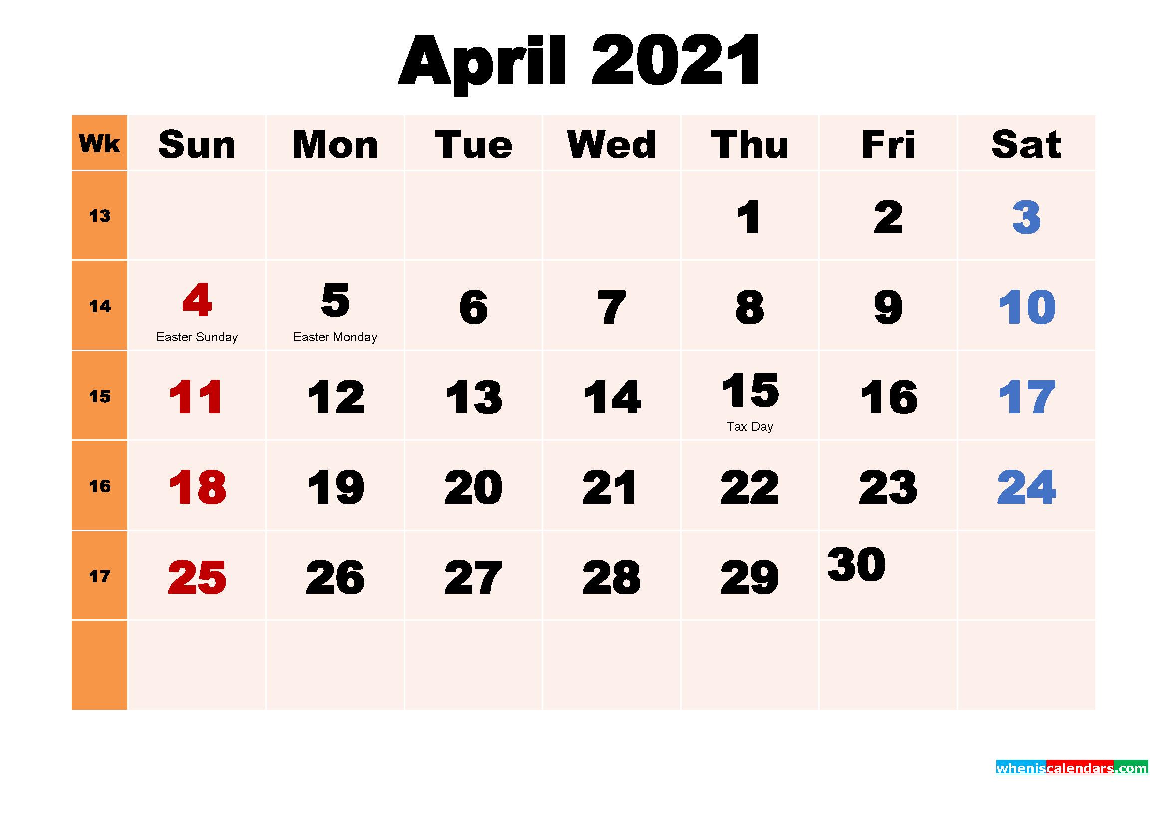 Free Printable 2021 Calendar with Holidays April