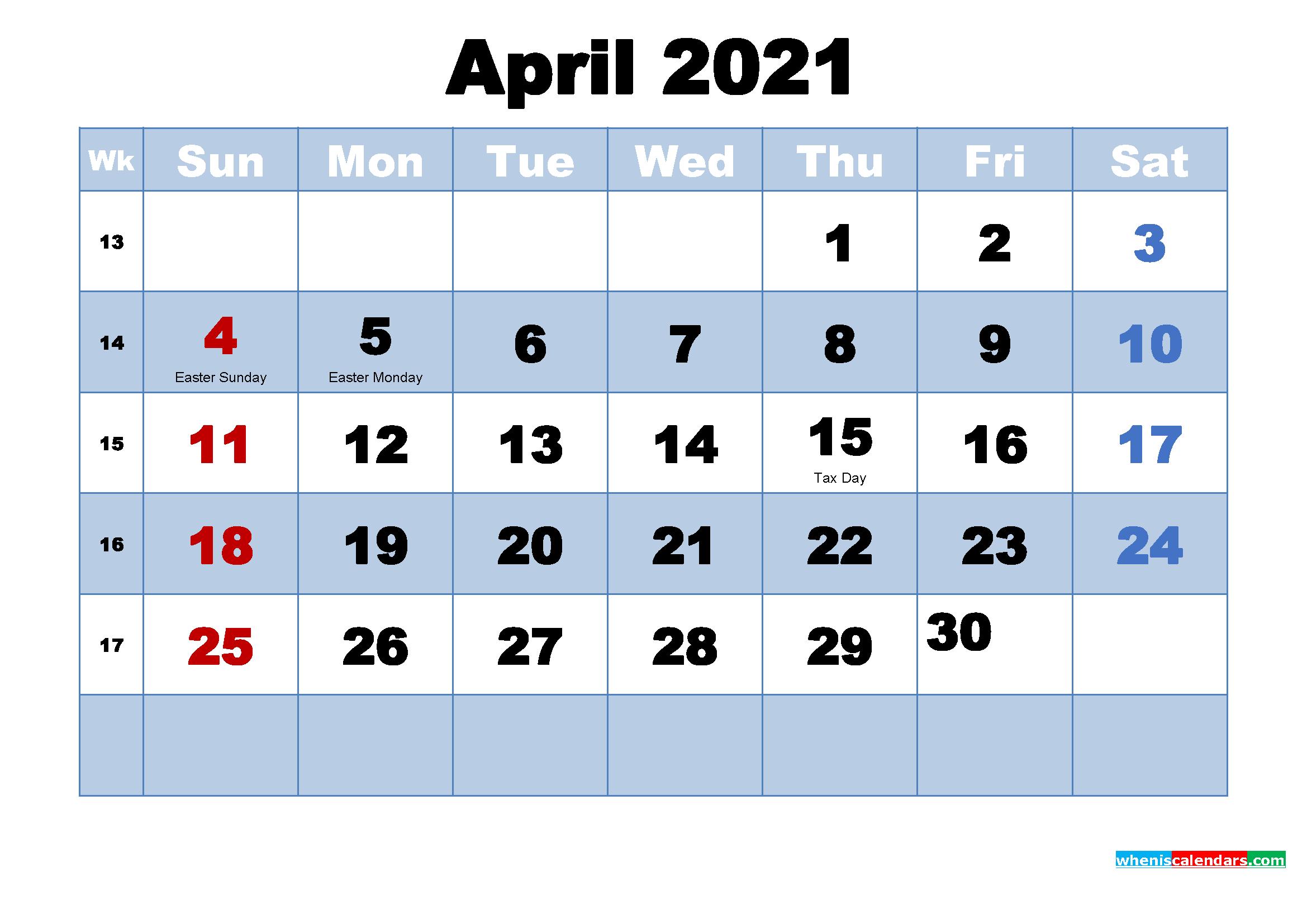 Free Printable 2021 Calendar April as Word, PDF | Free ...