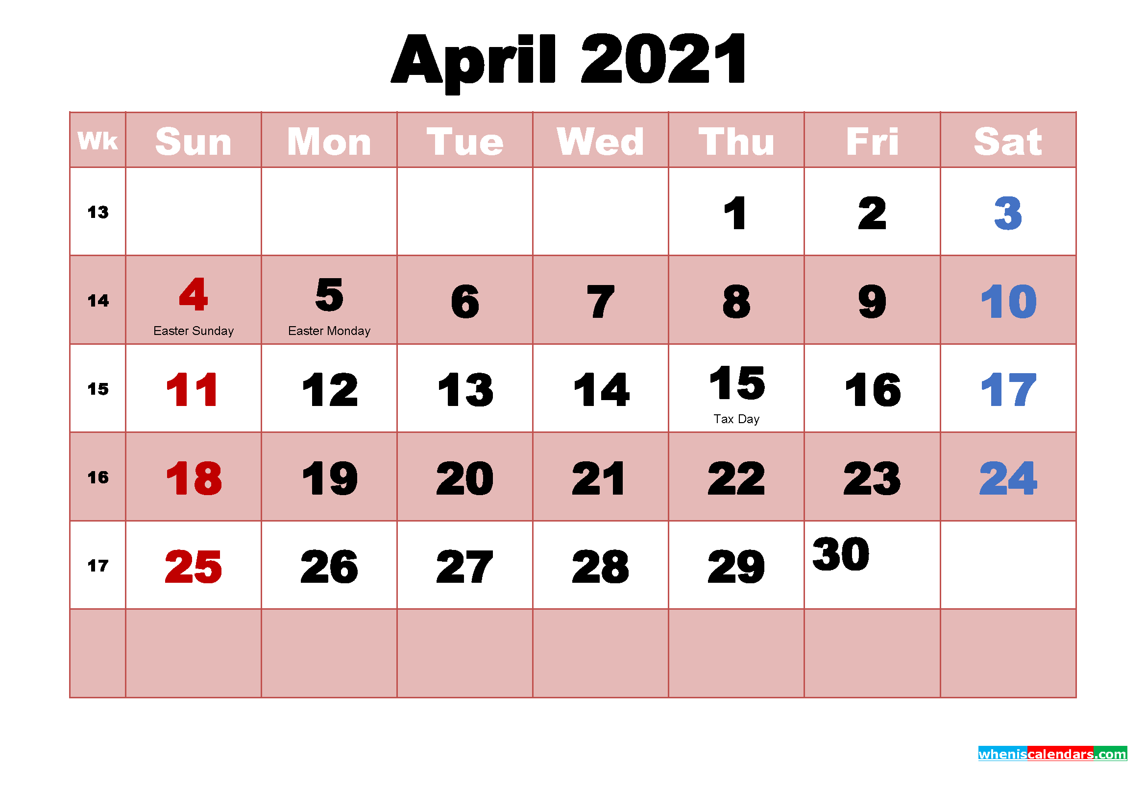April 2021 Printable Monthly Calendar with Holidays