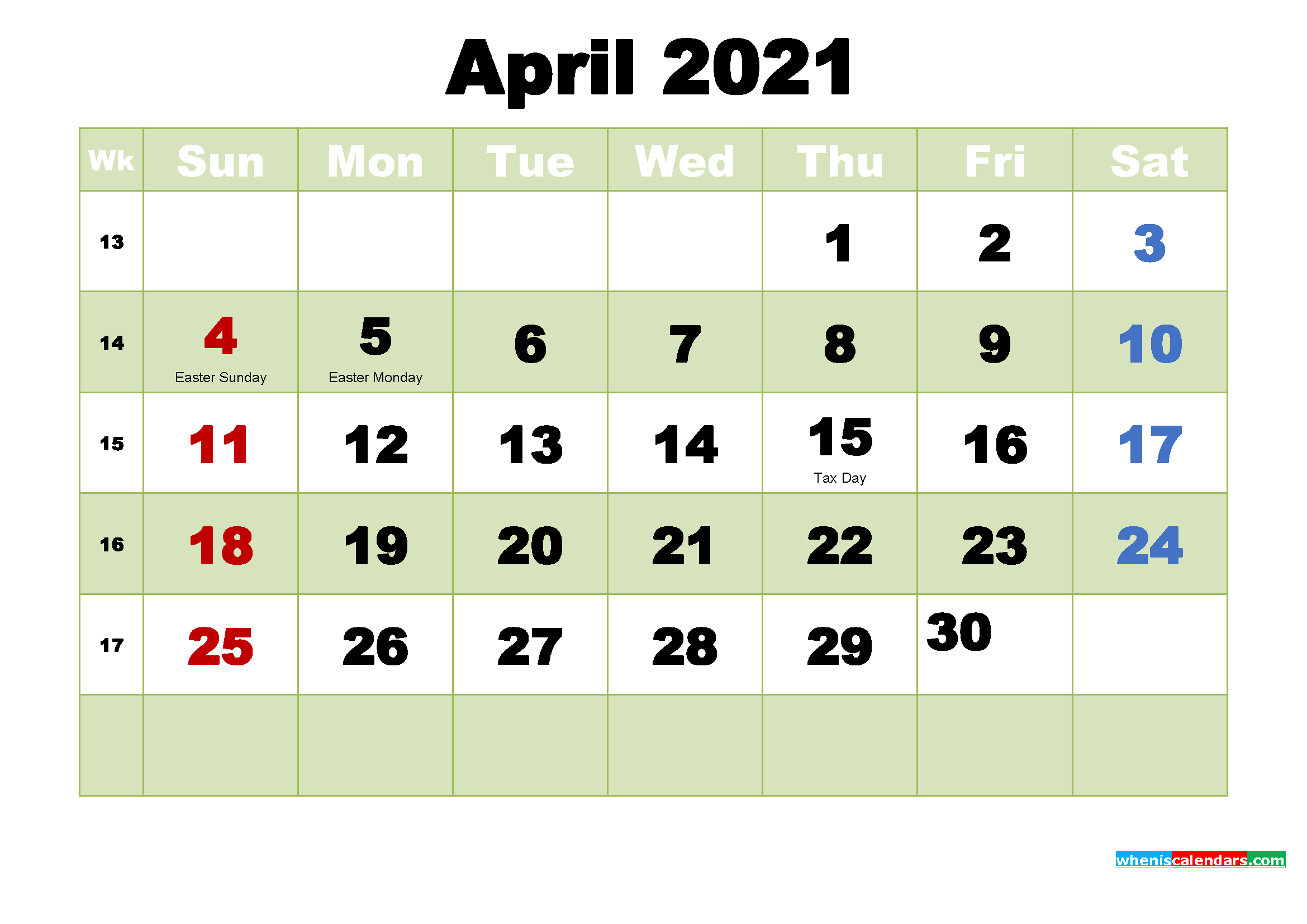 April 2021 Desktop Calendar Free Download