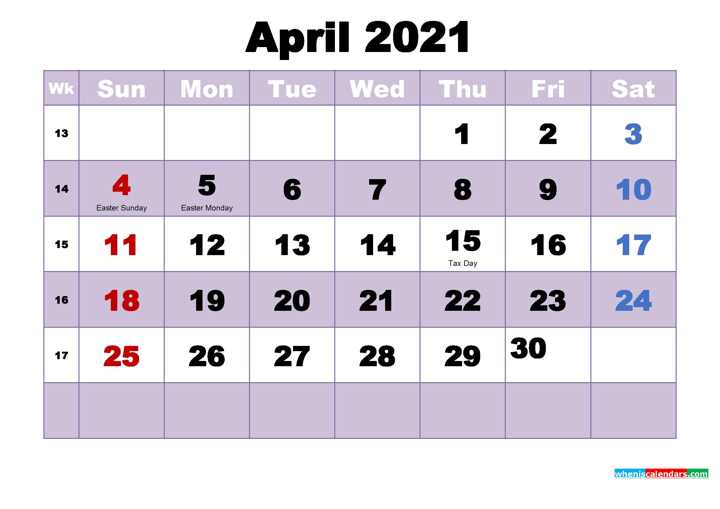 Printable 2021 Calendar with Holidays April