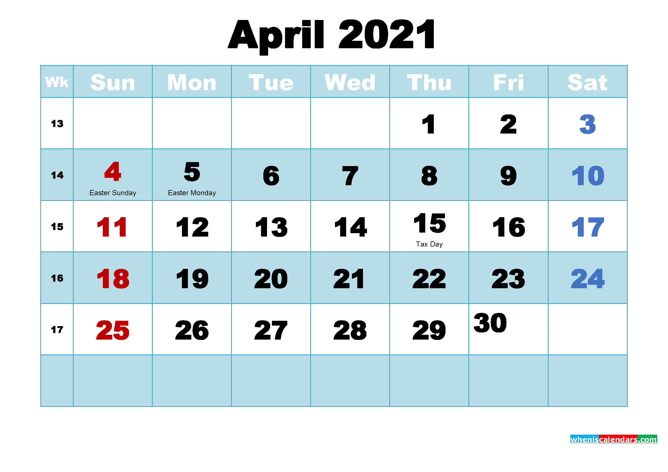 Free Printable 2021 Calendar with Holidays April