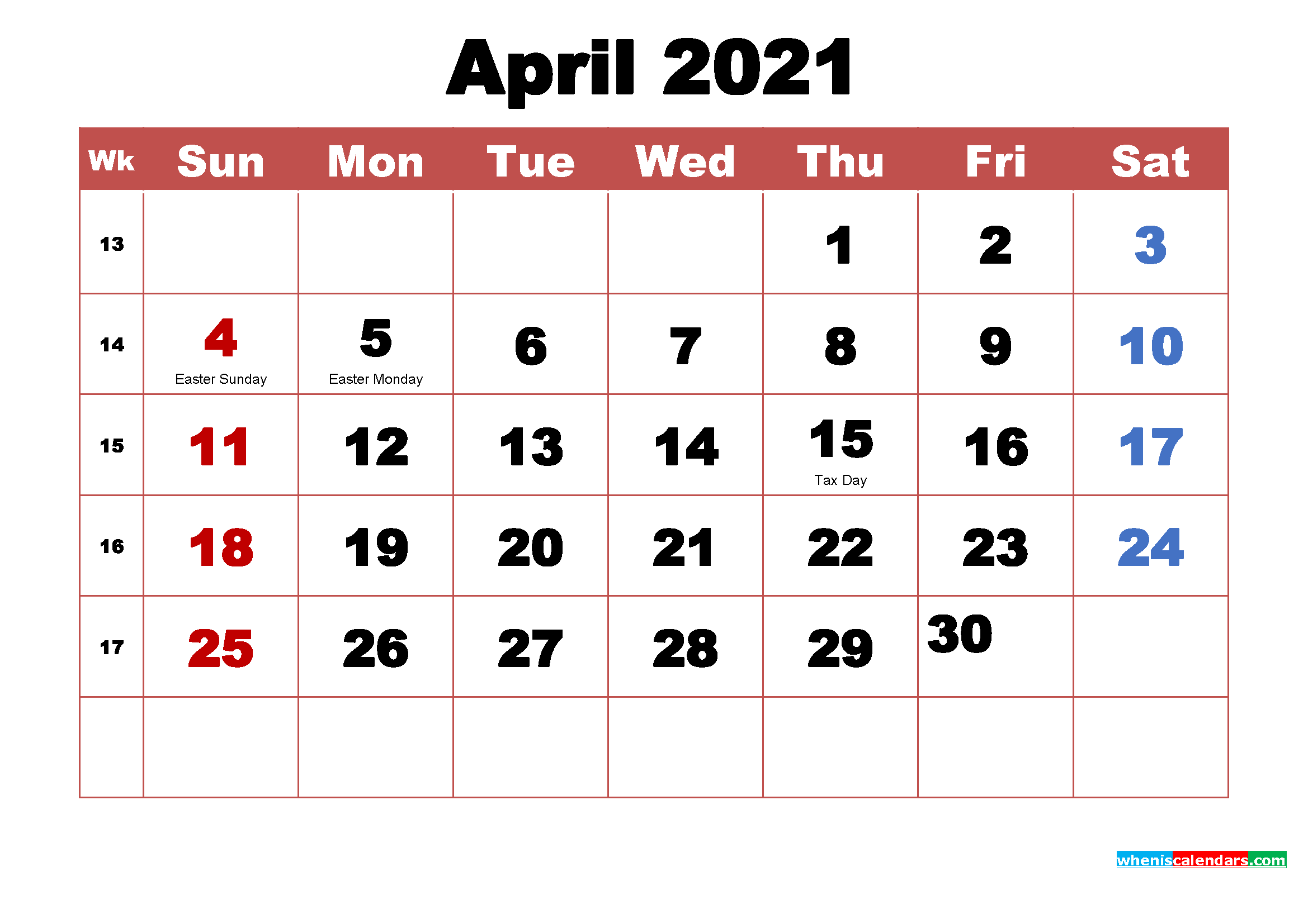 Printable April 2021 Calendar with Holidays Word, PDF