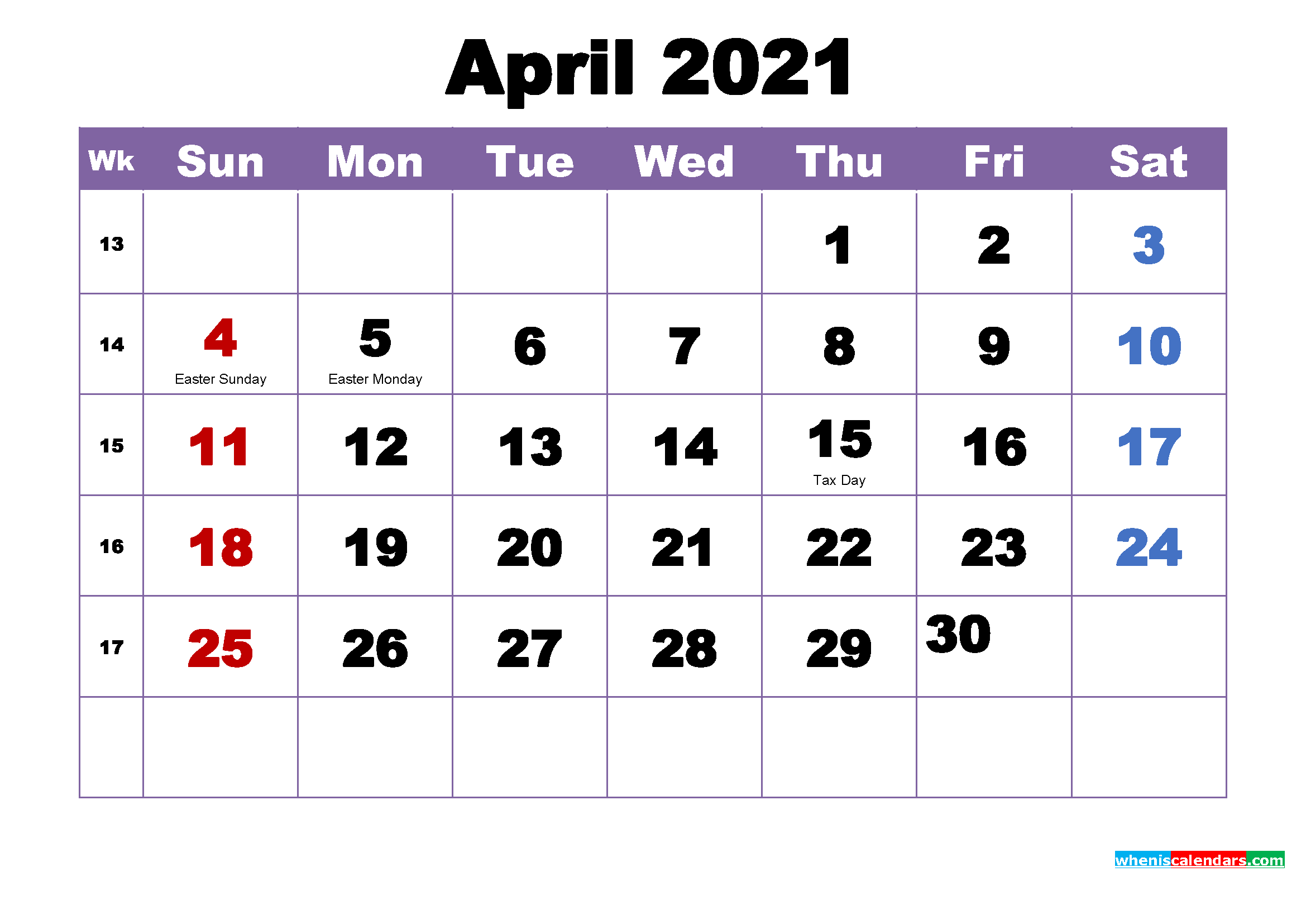 April 2021 Desktop Calendar Monthly