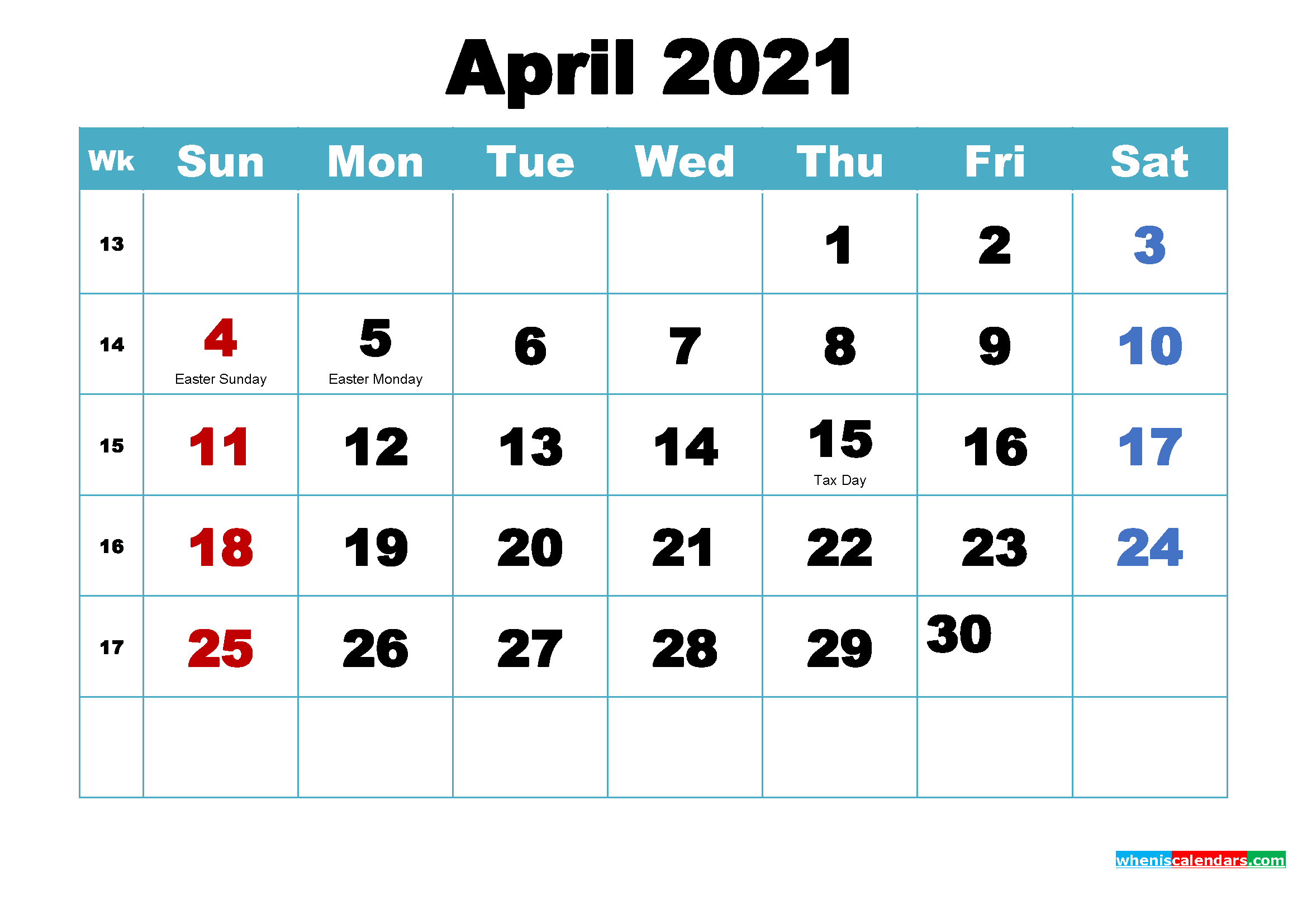 Printable April 2021 Calendar Word – Free Printable 2020 Monthly