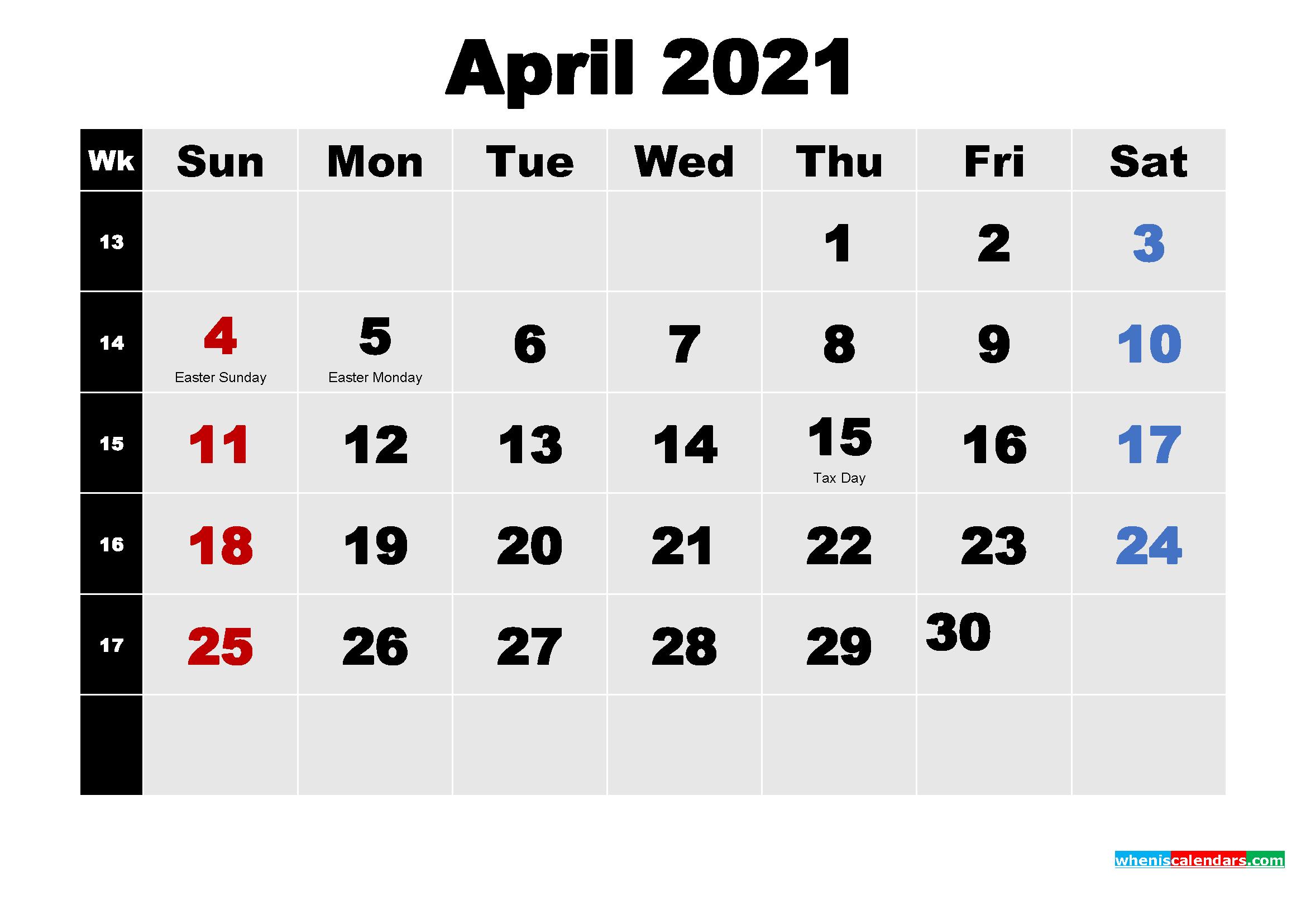 Free Printable April 2021 Calendar Word