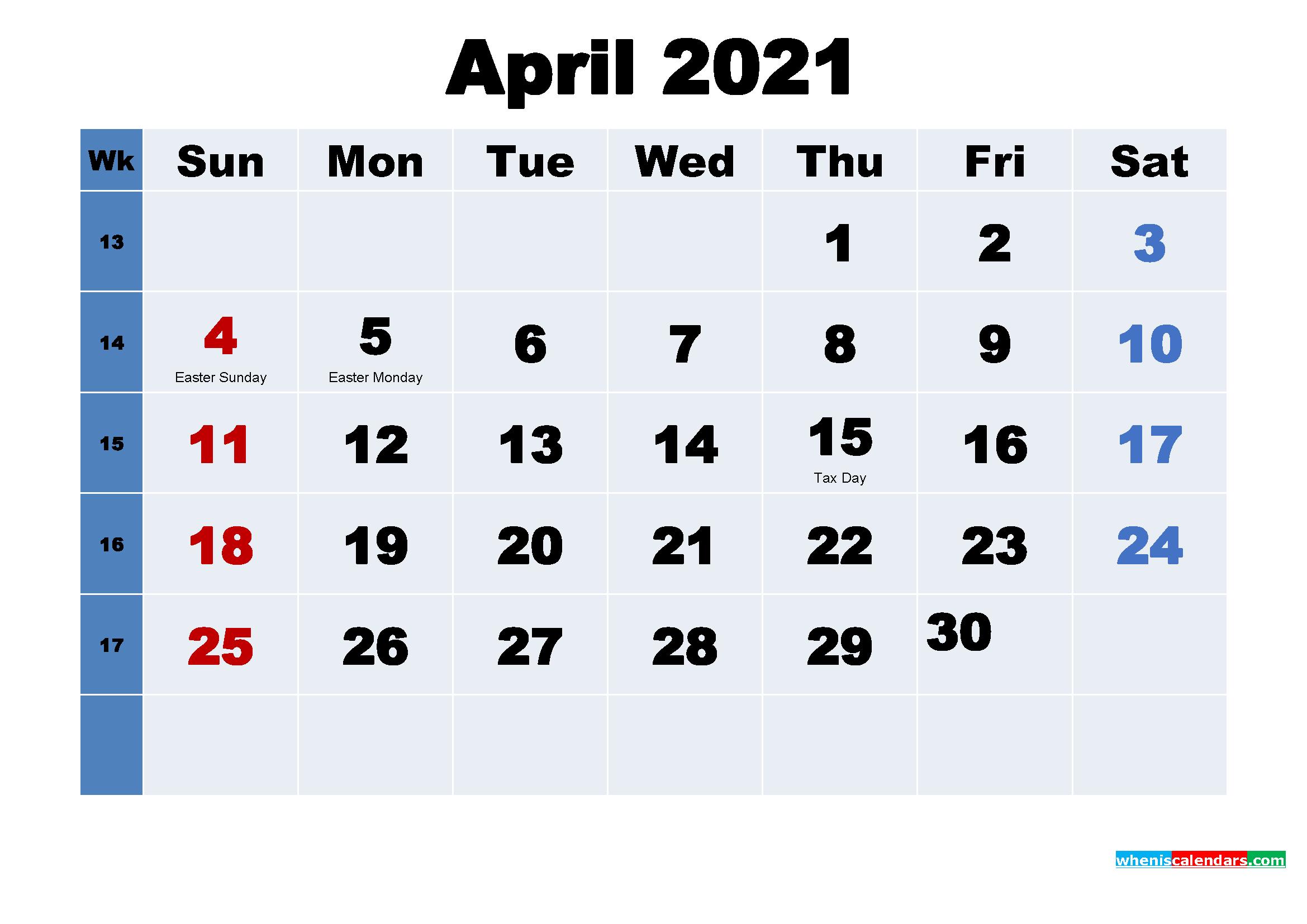 April 2021 Desktop Calendar with Holidays