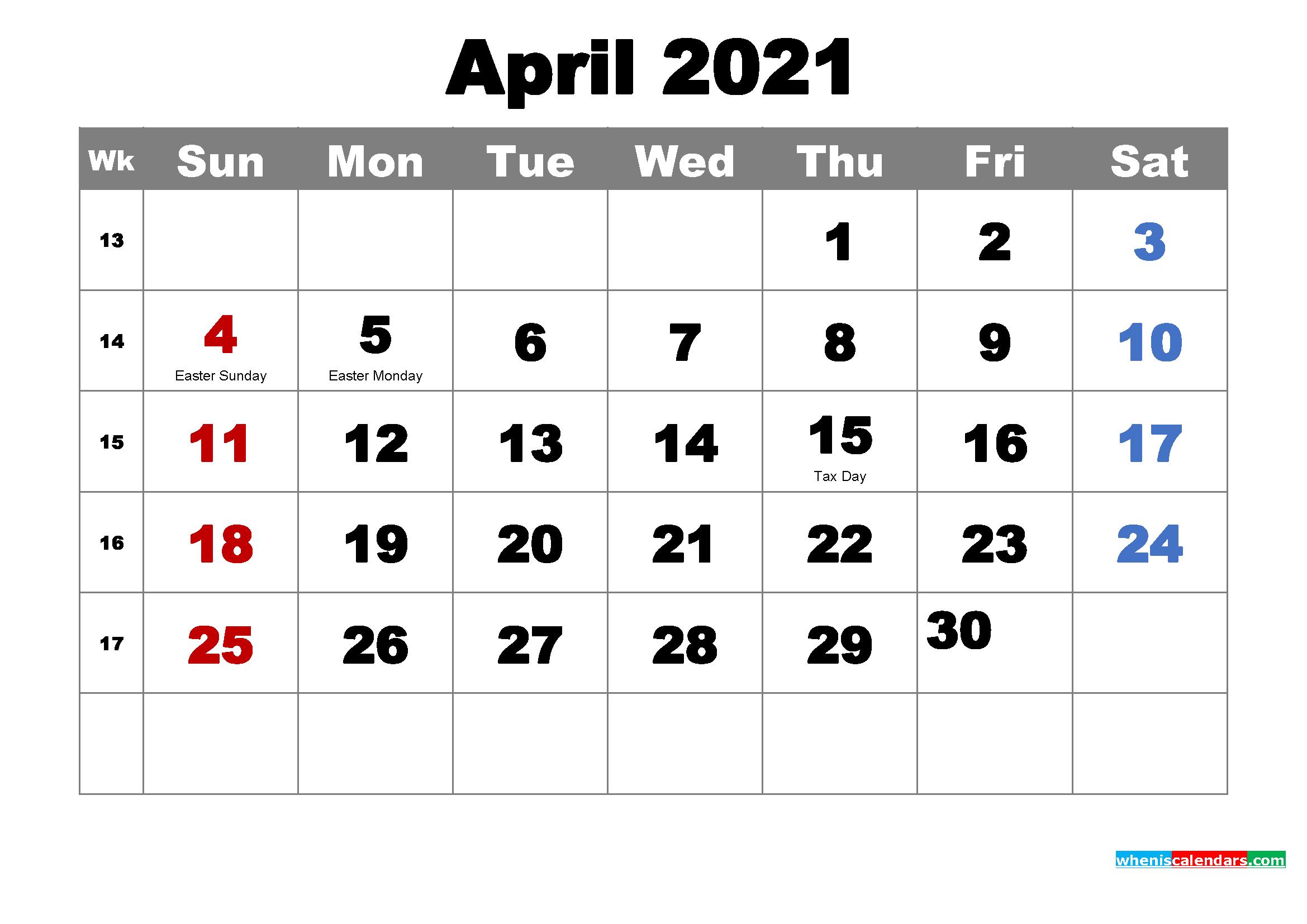 Free Printable April 2021 Calendar Wallpaper | Free ...