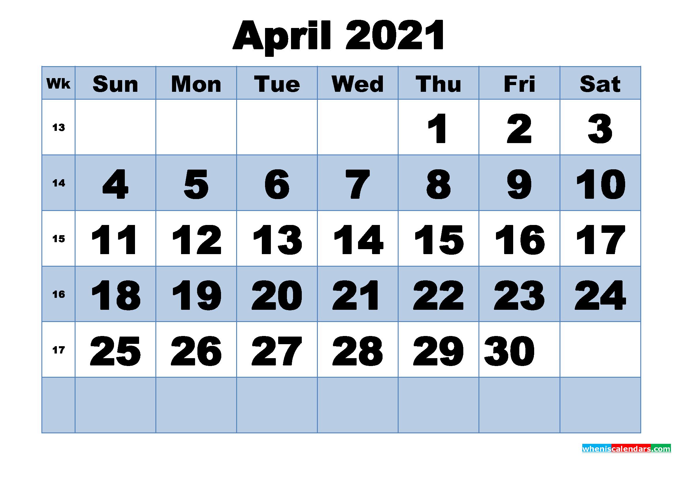 Free Printable April 2021 Calendar with Week Numbers ...