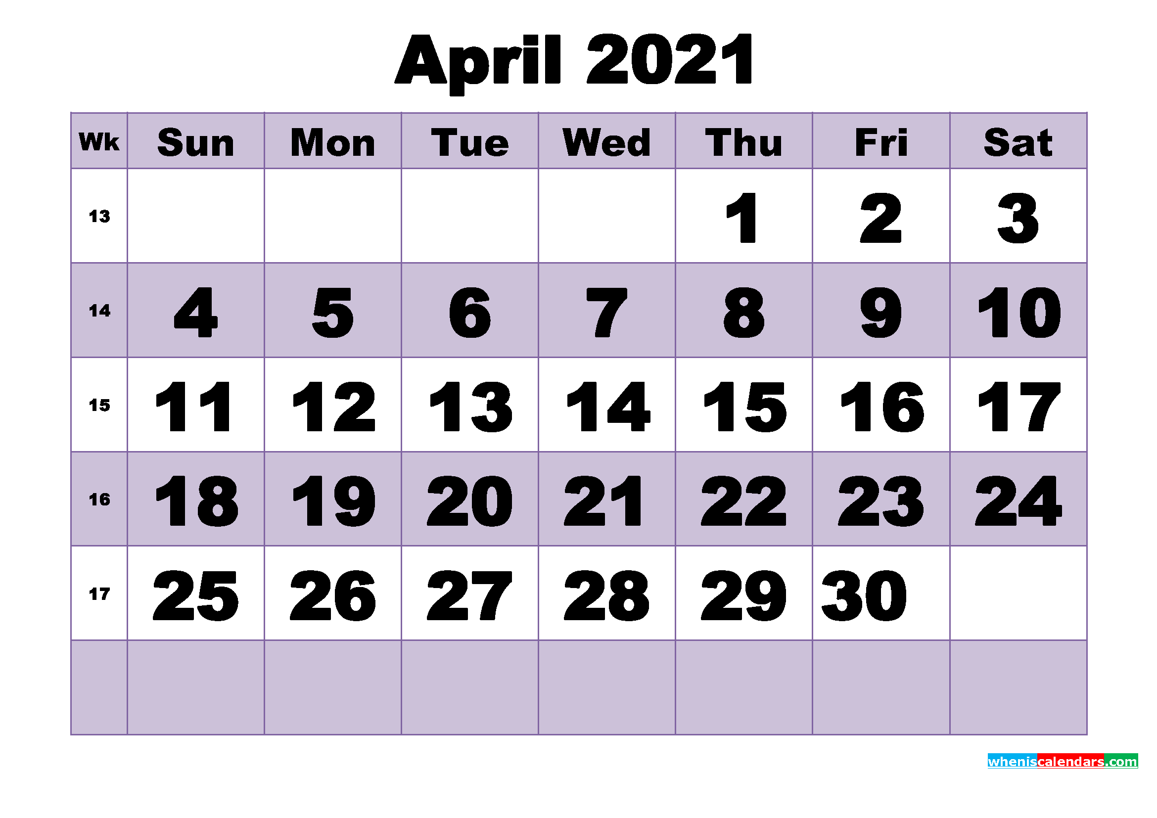 Free April 2021 Printable Monthly Calendar Template