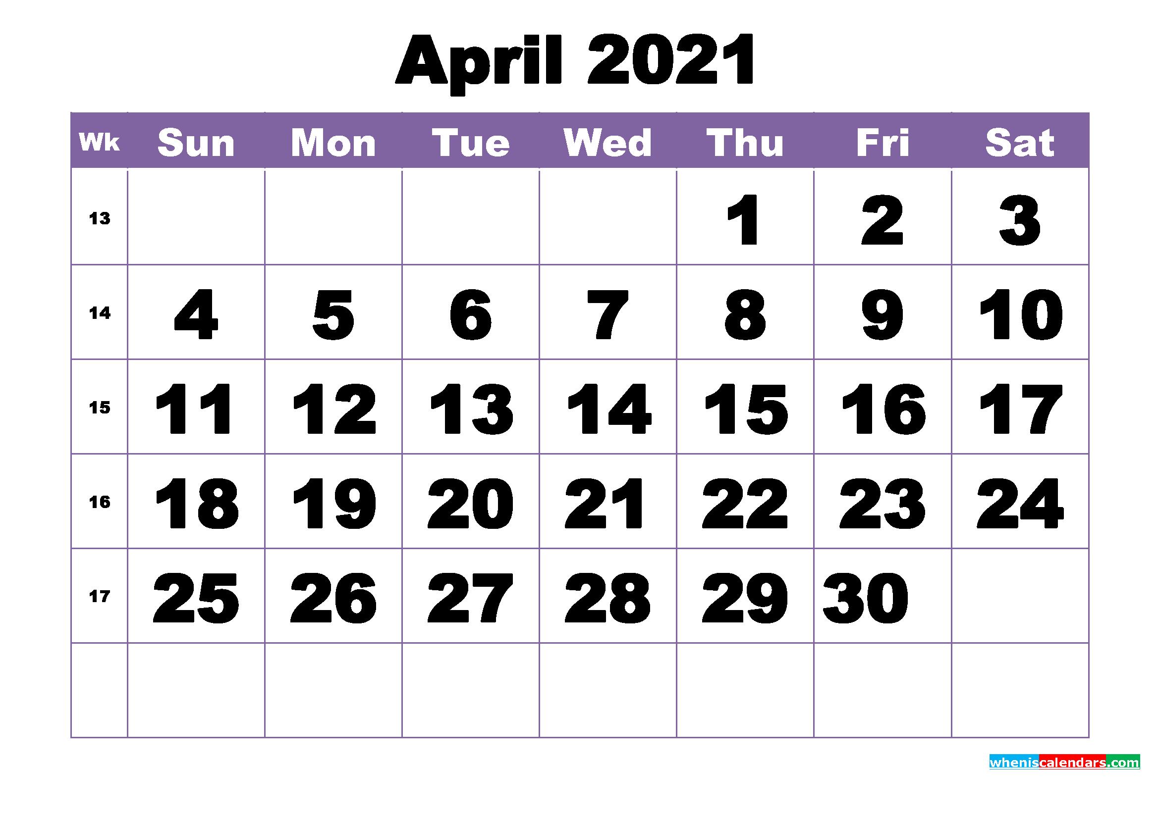 April 2021 Printable Calendar Template   Free Printable ...