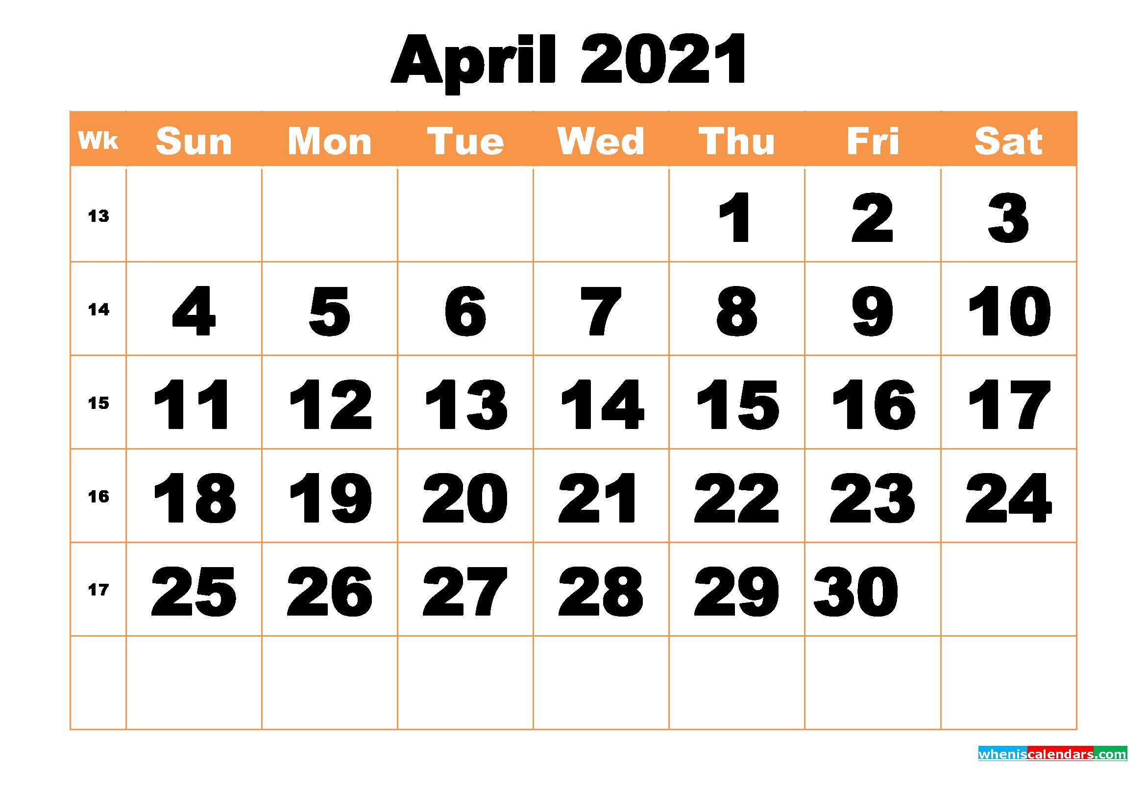 Free Printable April 2021 Calendar Word, PDF, Image
