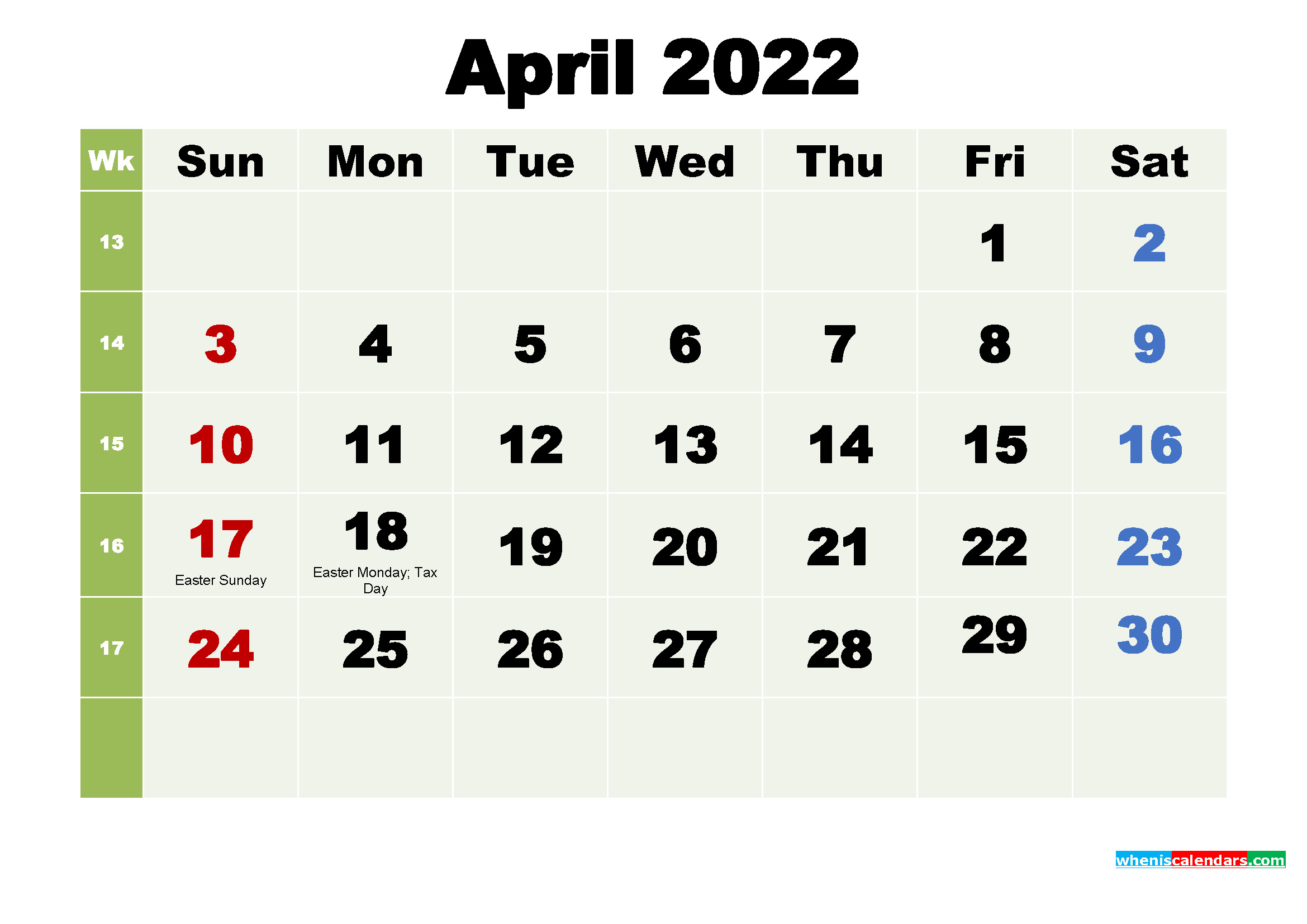 Printable April 2022 Calendar by Month