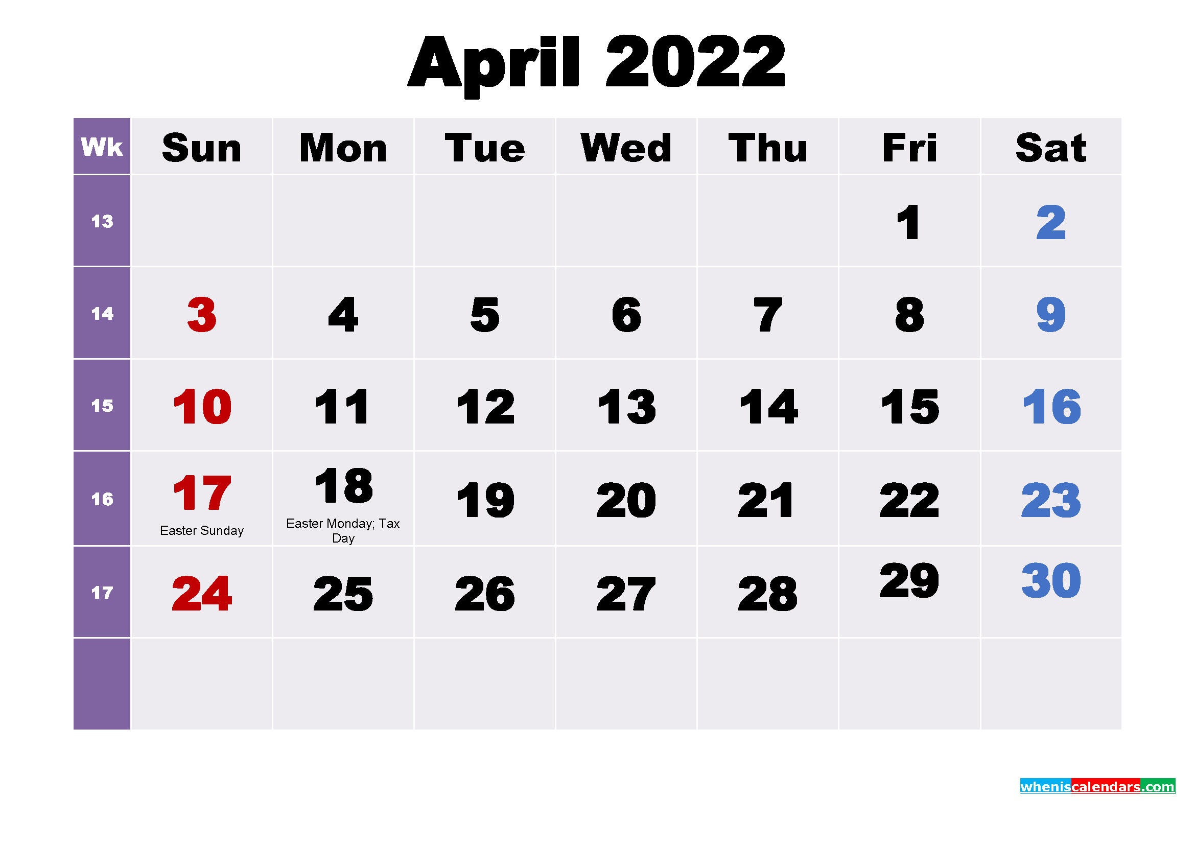 April 2022 Desktop Calendar Free Download