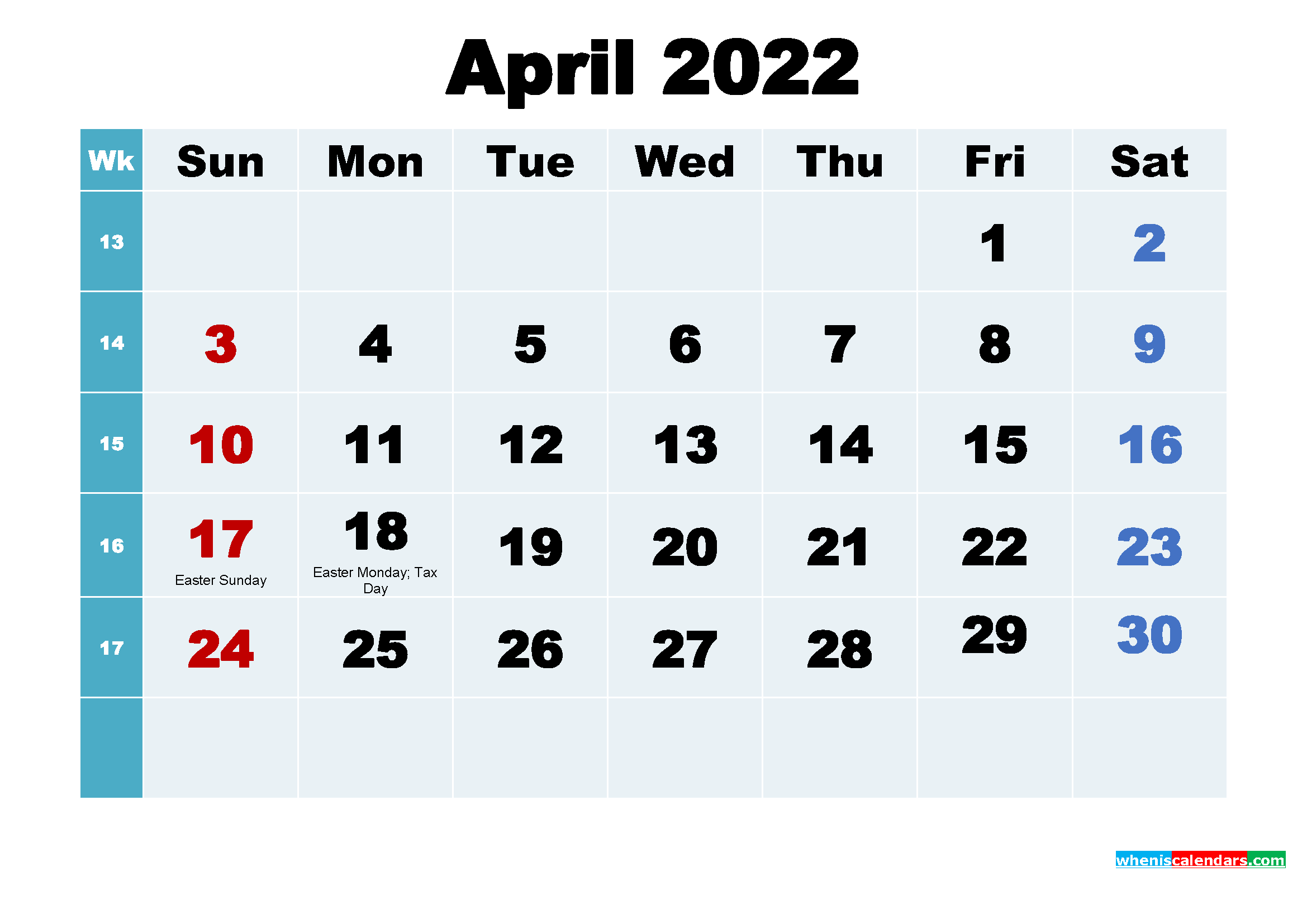 Printable 2022 Calendar with Holidays April