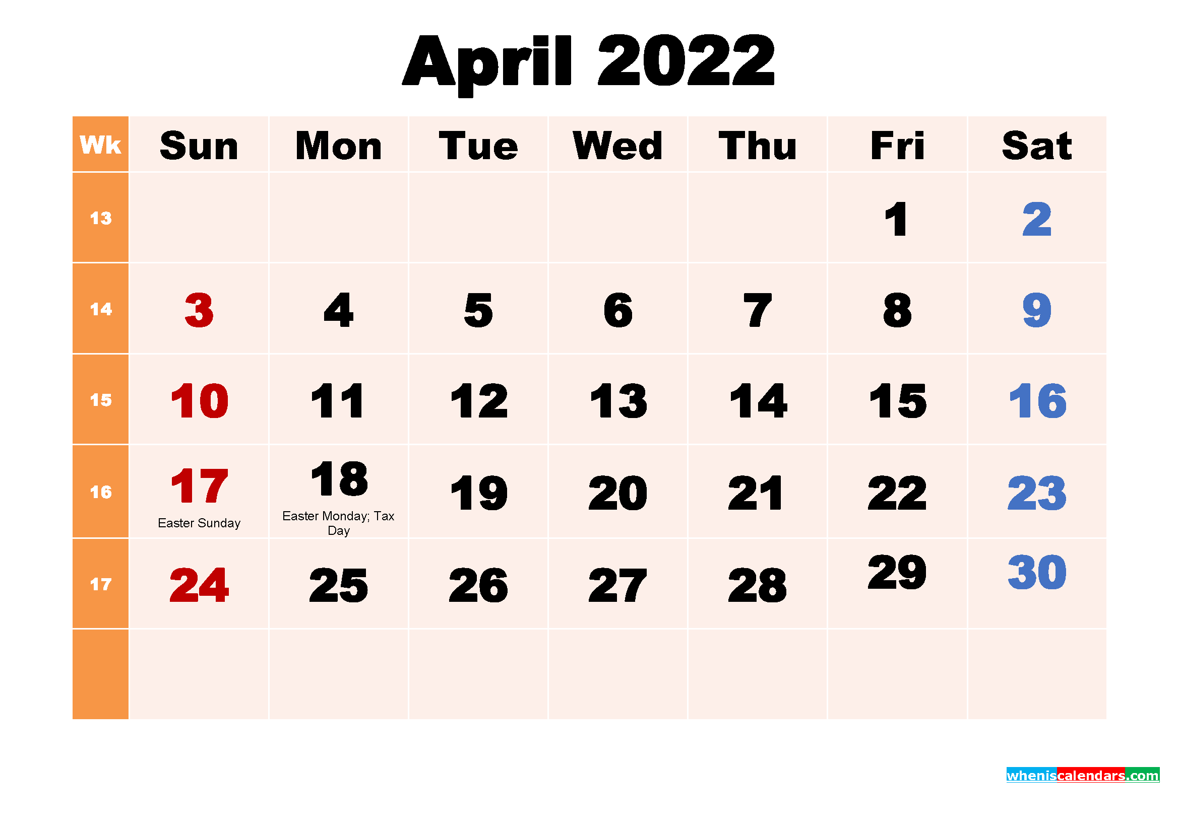 April 2022 Printable Calendar with Holidays Word, PDF