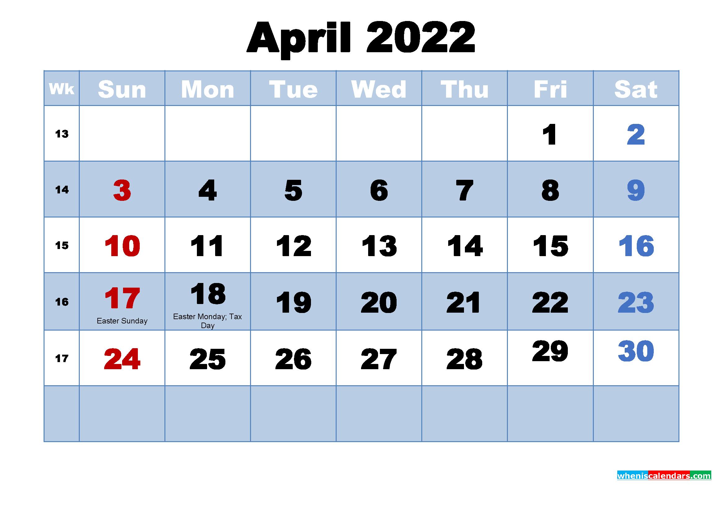 April 2022 Calendar Wallpaper High Resolution
